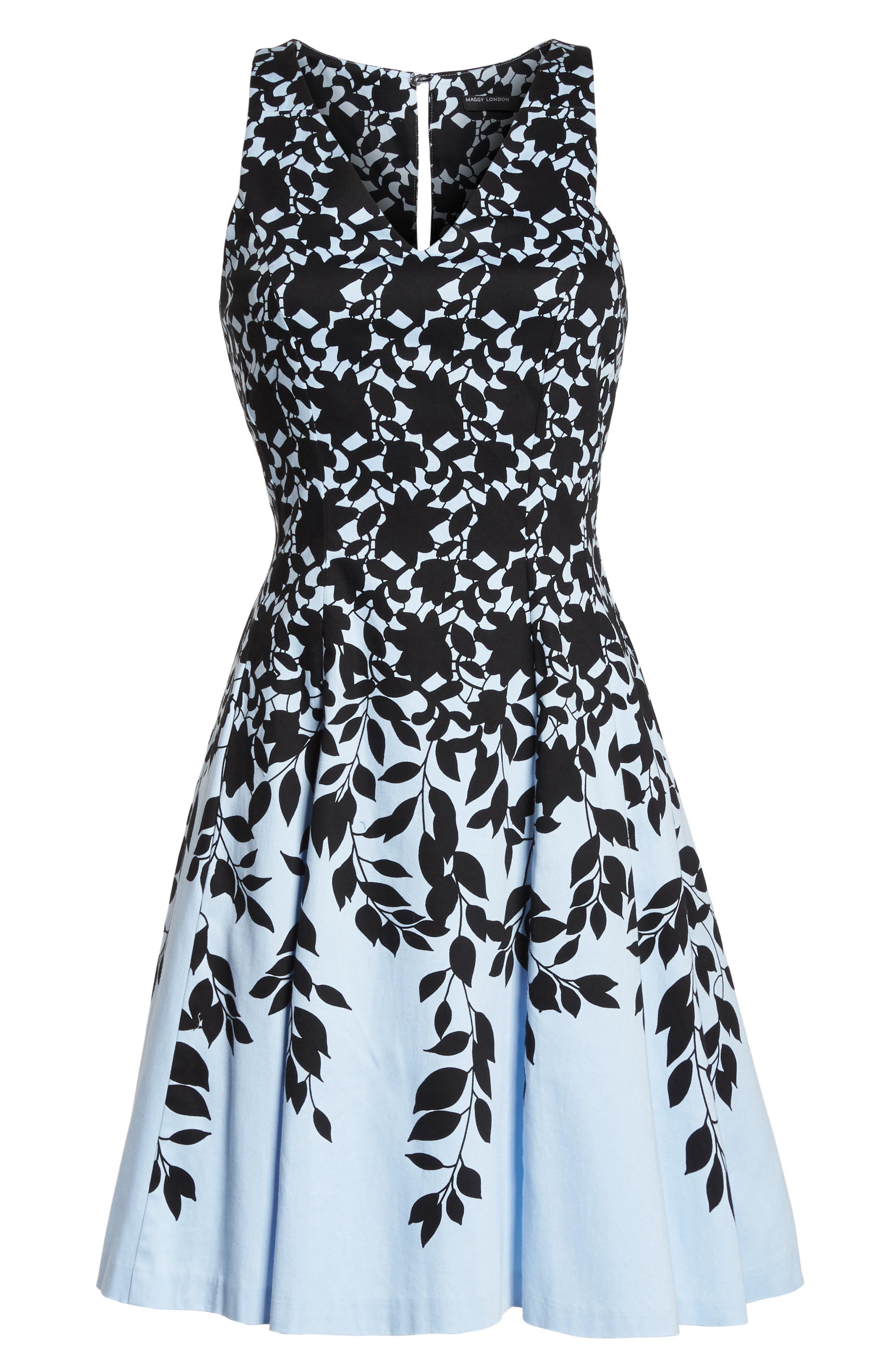 Print Fit & Flare Dress,                             Alternate thumbnail 7, color,