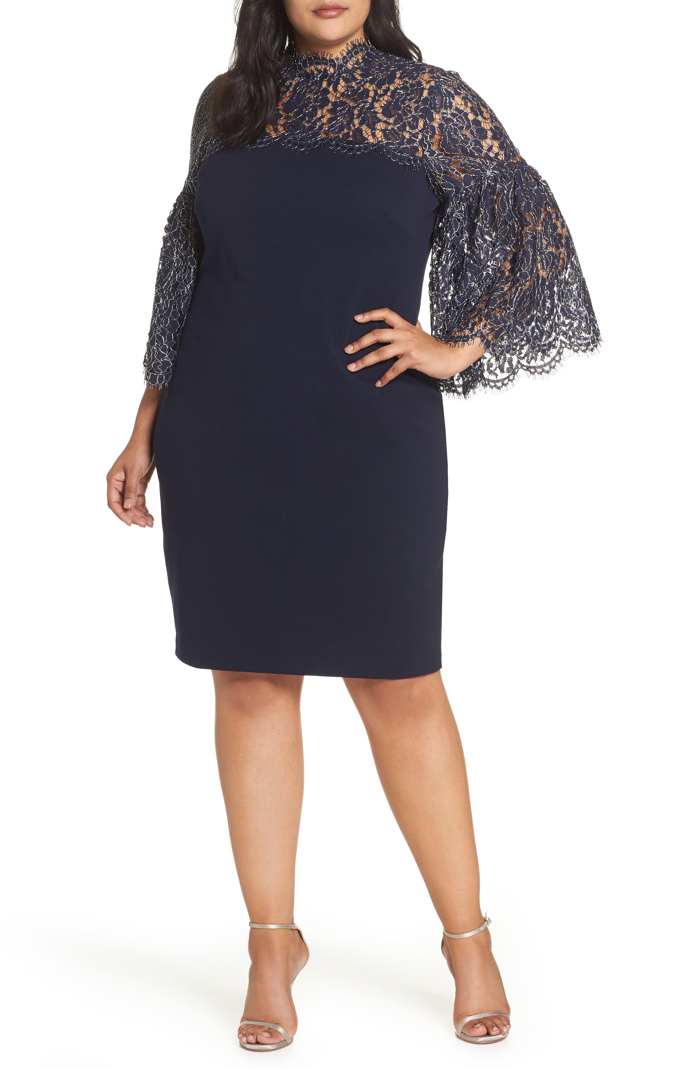 Lace Yoke Scuba Crepe Dress,                             Main thumbnail 1, color,                             NAVY
