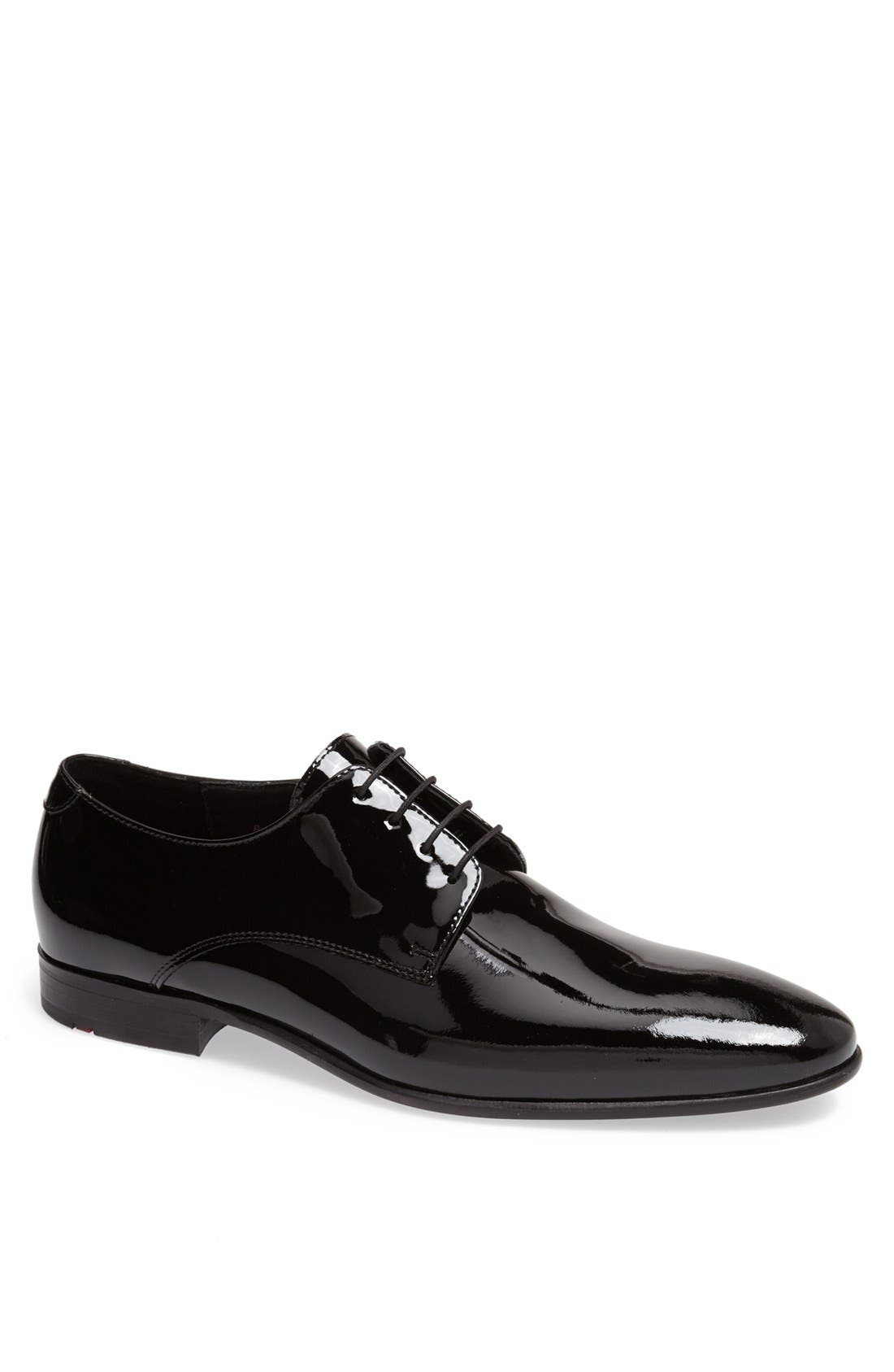 'Jerez' Plain Toe Derby,                             Main thumbnail 1, color,                             BLACK PATENT