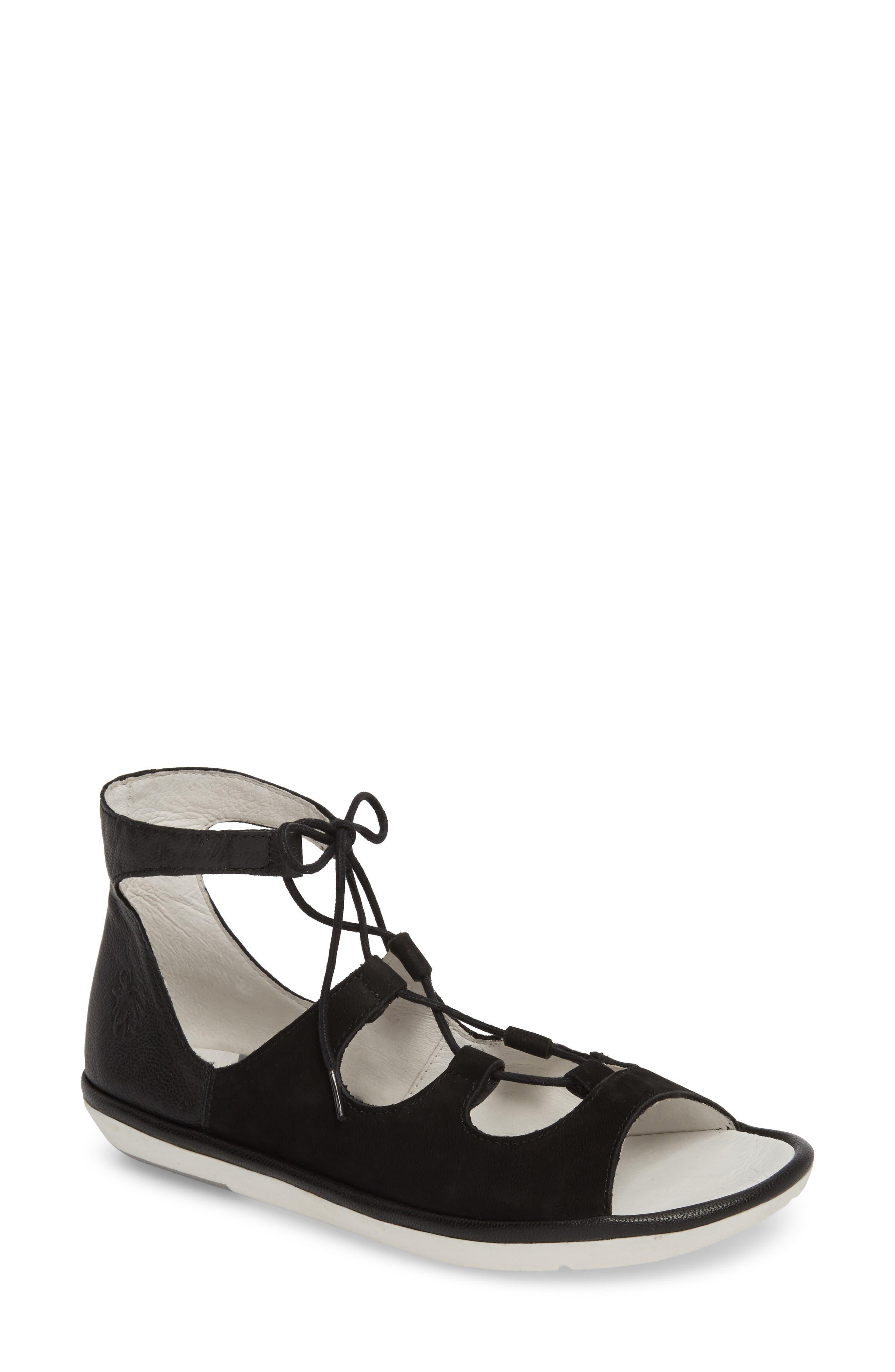 Mura Ghillie Sandal, Main, color, BLACK LEATHER