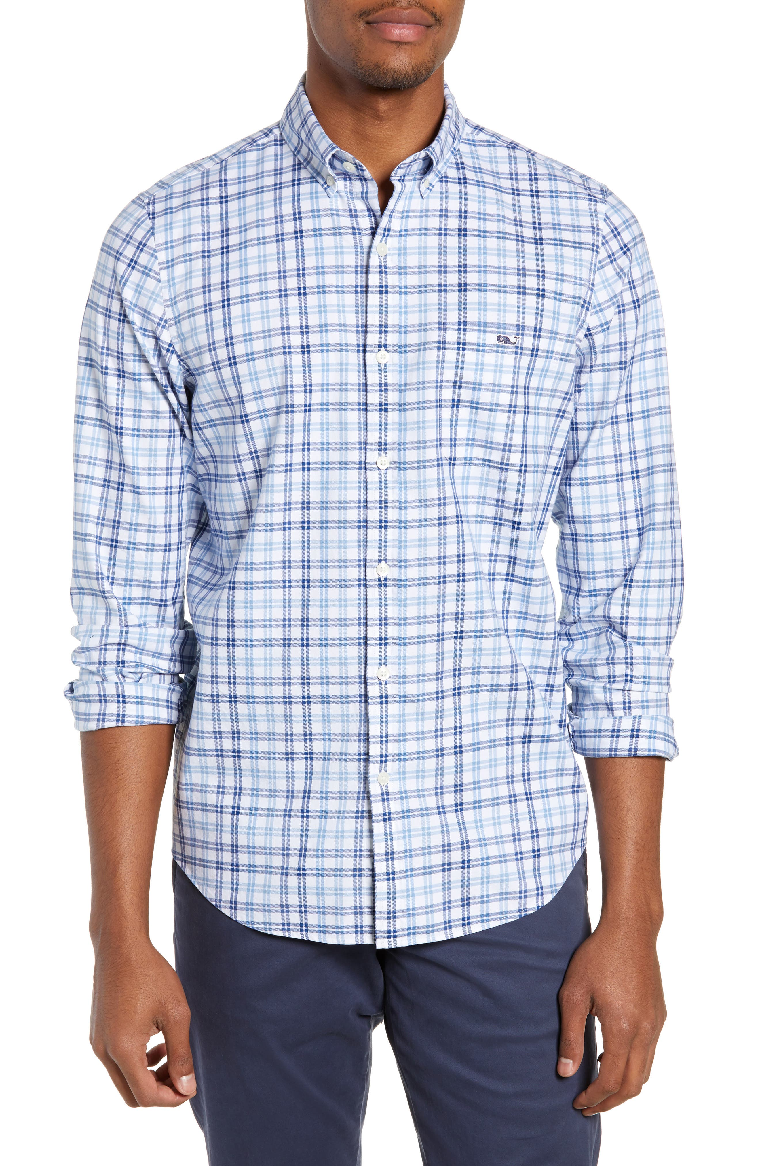 VINEYARD VINES Robins Nest Plaid Classic Fit Button-Down Shirt in Moonshine