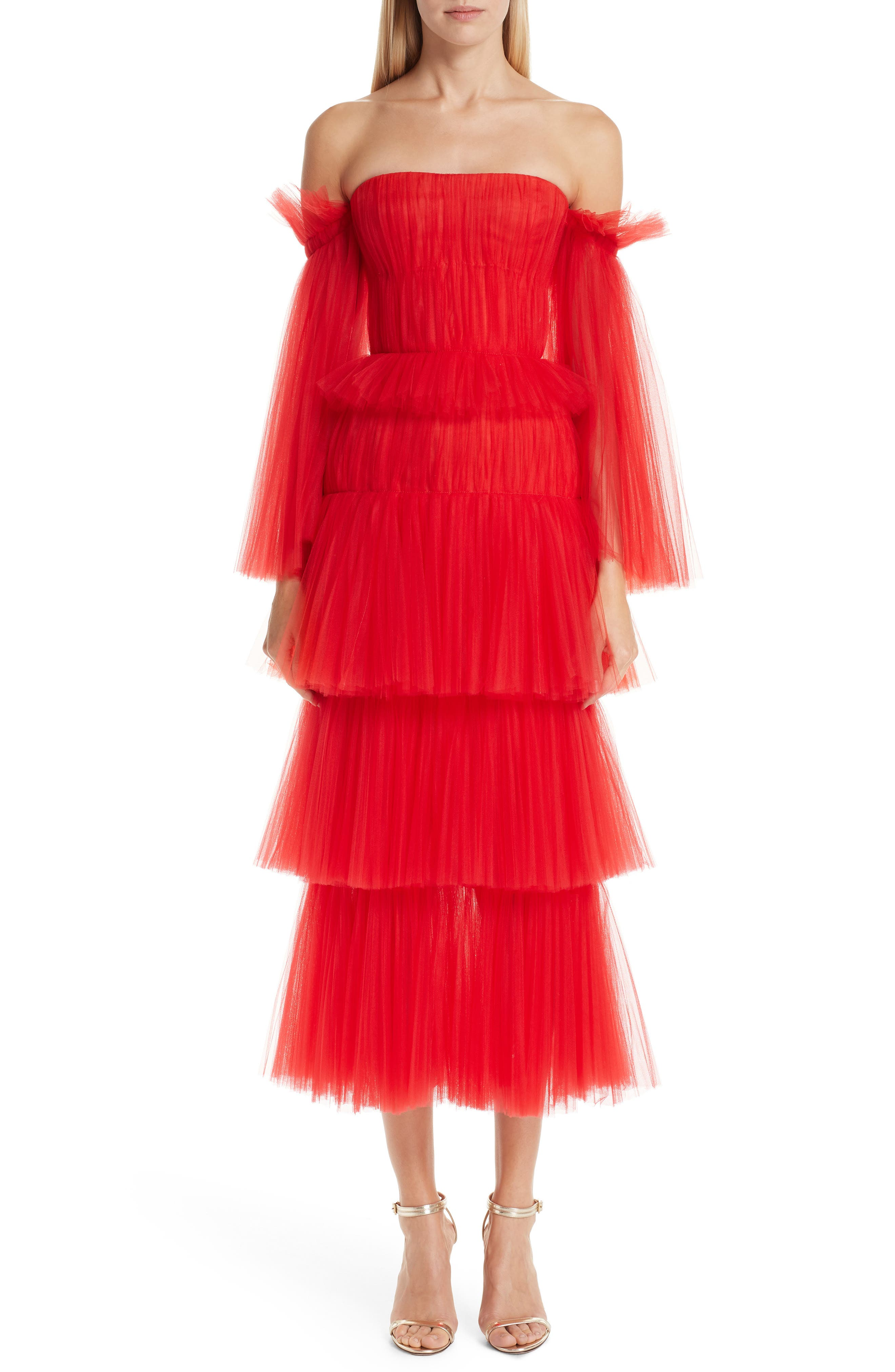 Carolina Herrera Off The Shoulder Pleated Tulle Dress, Red