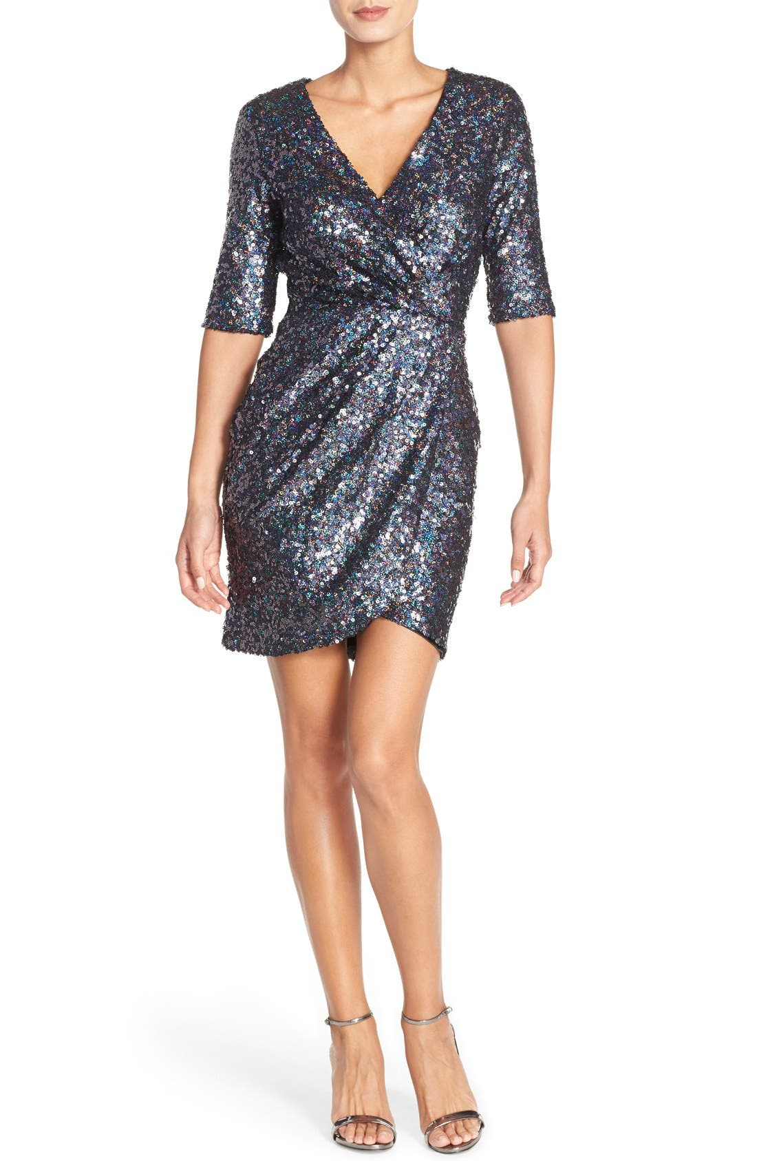 Sequin Mesh Faux Wrap Dress,                         Main,                         color,