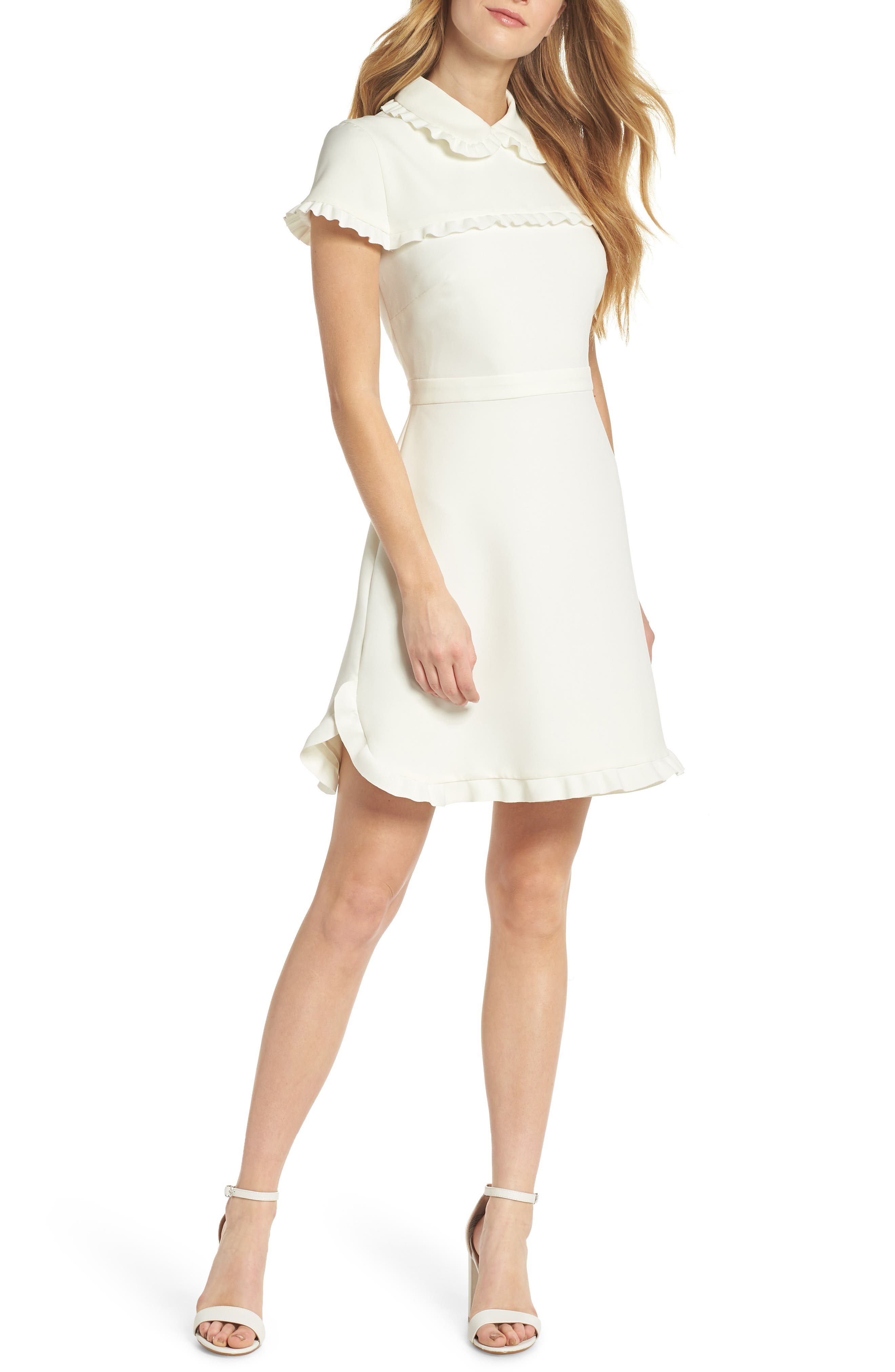 Emma Ruffle Crepe Dress,                         Main,                         color, WHITE
