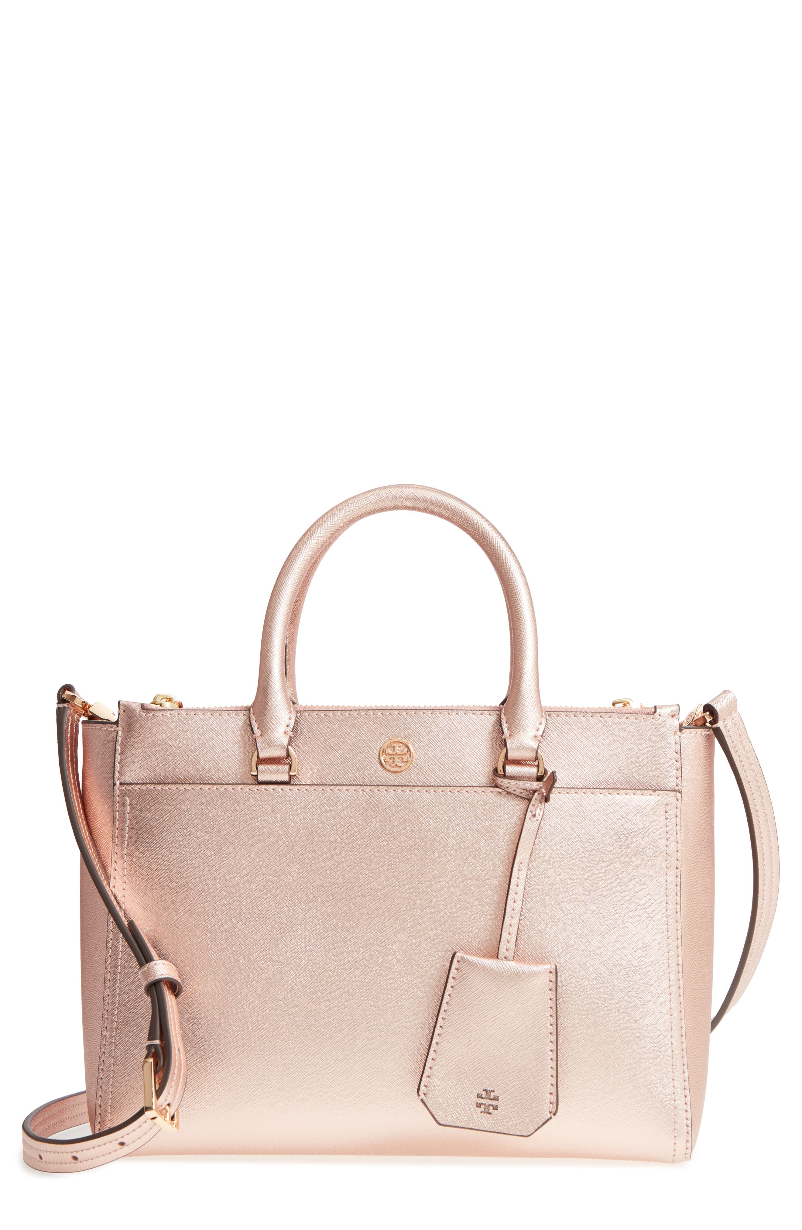 Small Robinson Double-Zip Metallic Leather Tote,                         Main,                         color, LIGHT ROSE GOLD