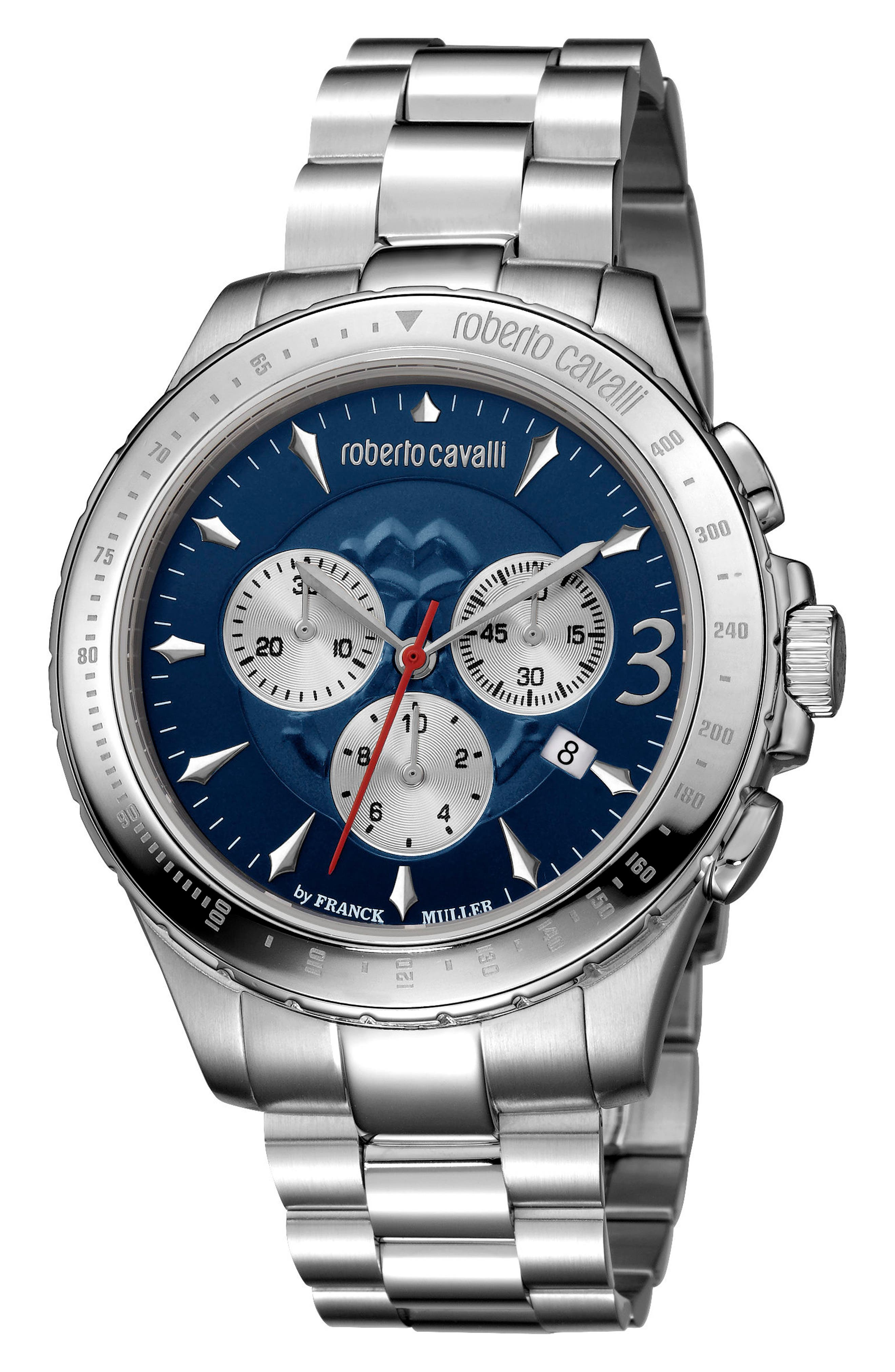 Chronograph Bracelet Watch, 43mm,                         Main,                         color, SILVER/ NAVY GUILLOCHE/ SILVER