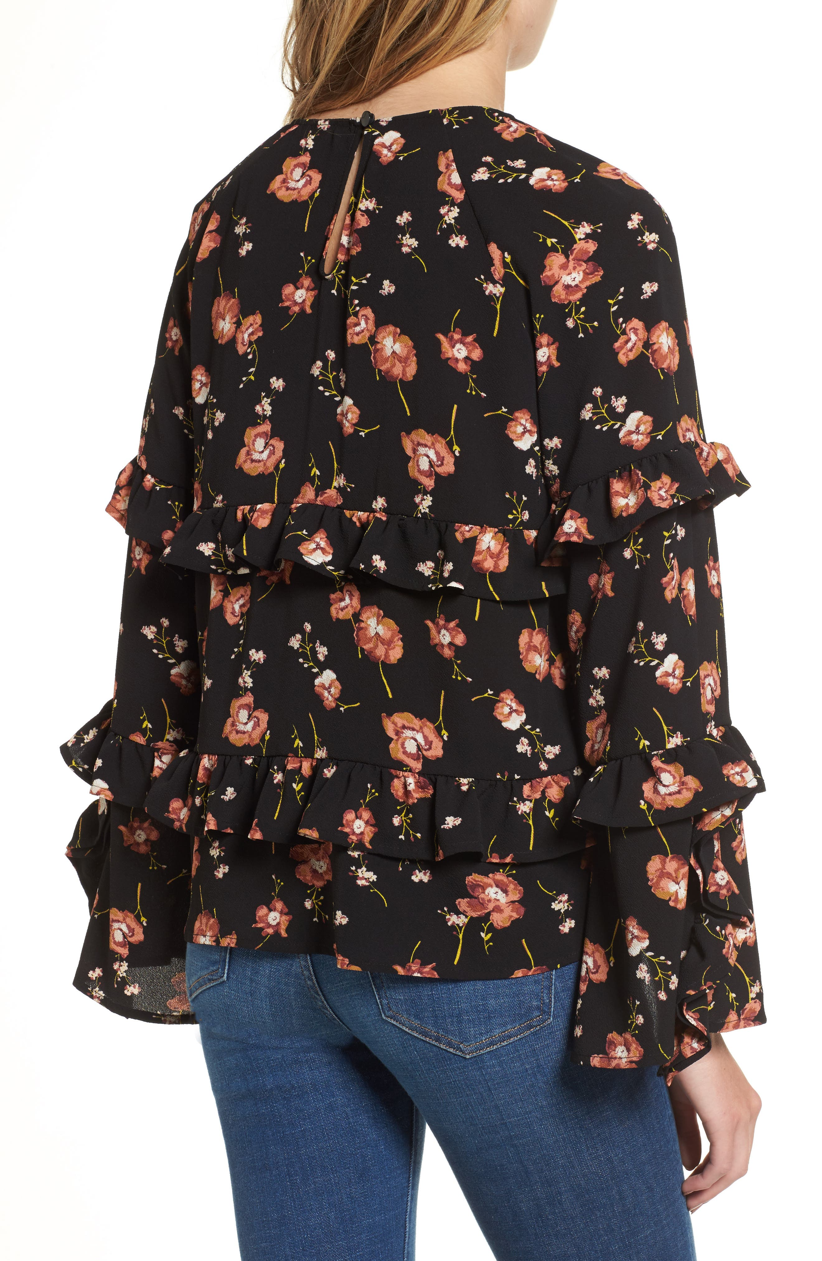 Print Ruffle Blouse,                             Alternate thumbnail 2, color,                             001