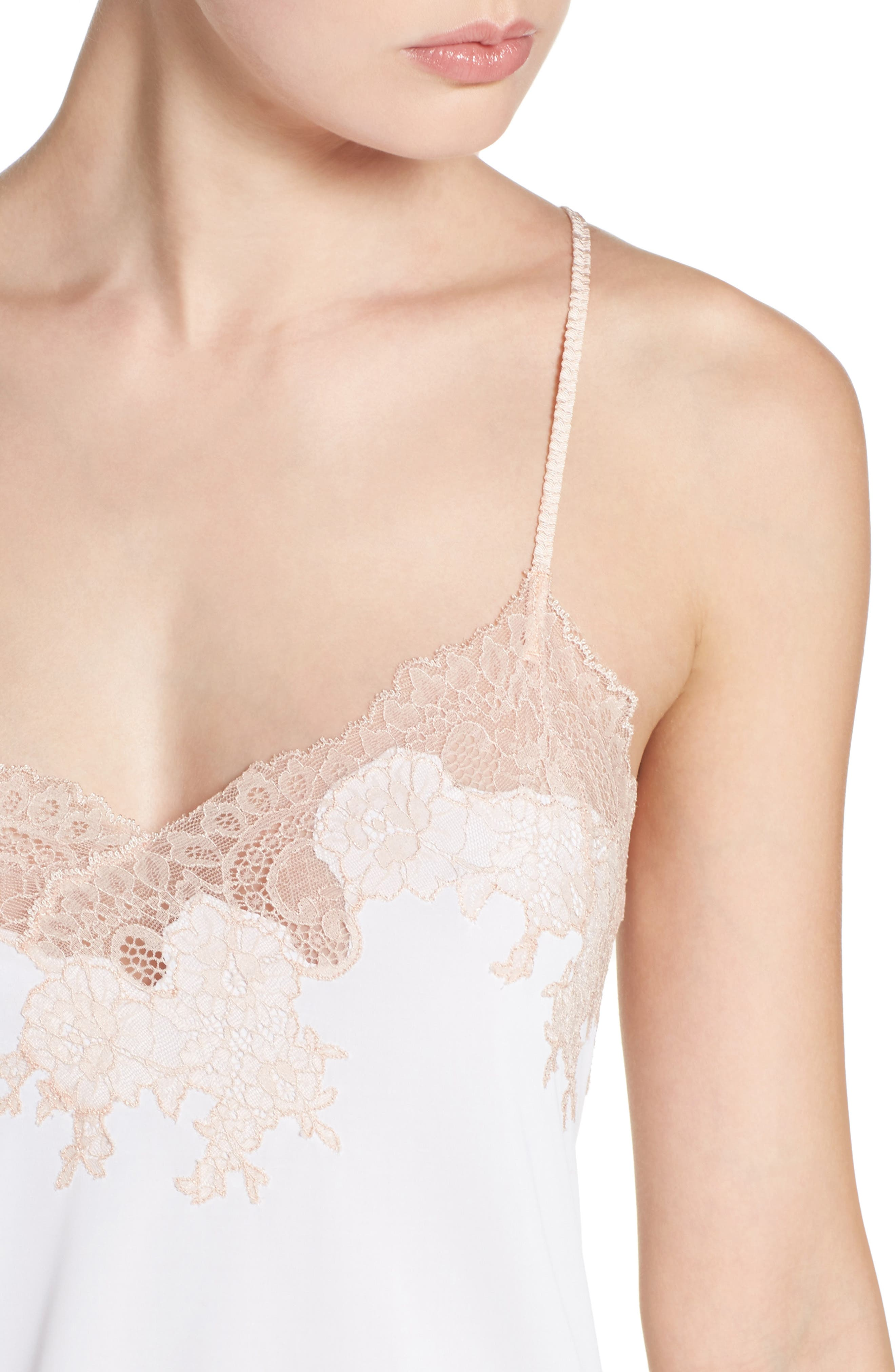 Enchant Chemise,                             Alternate thumbnail 4, color,                             IVORY/ CAMEO ROSE LACE