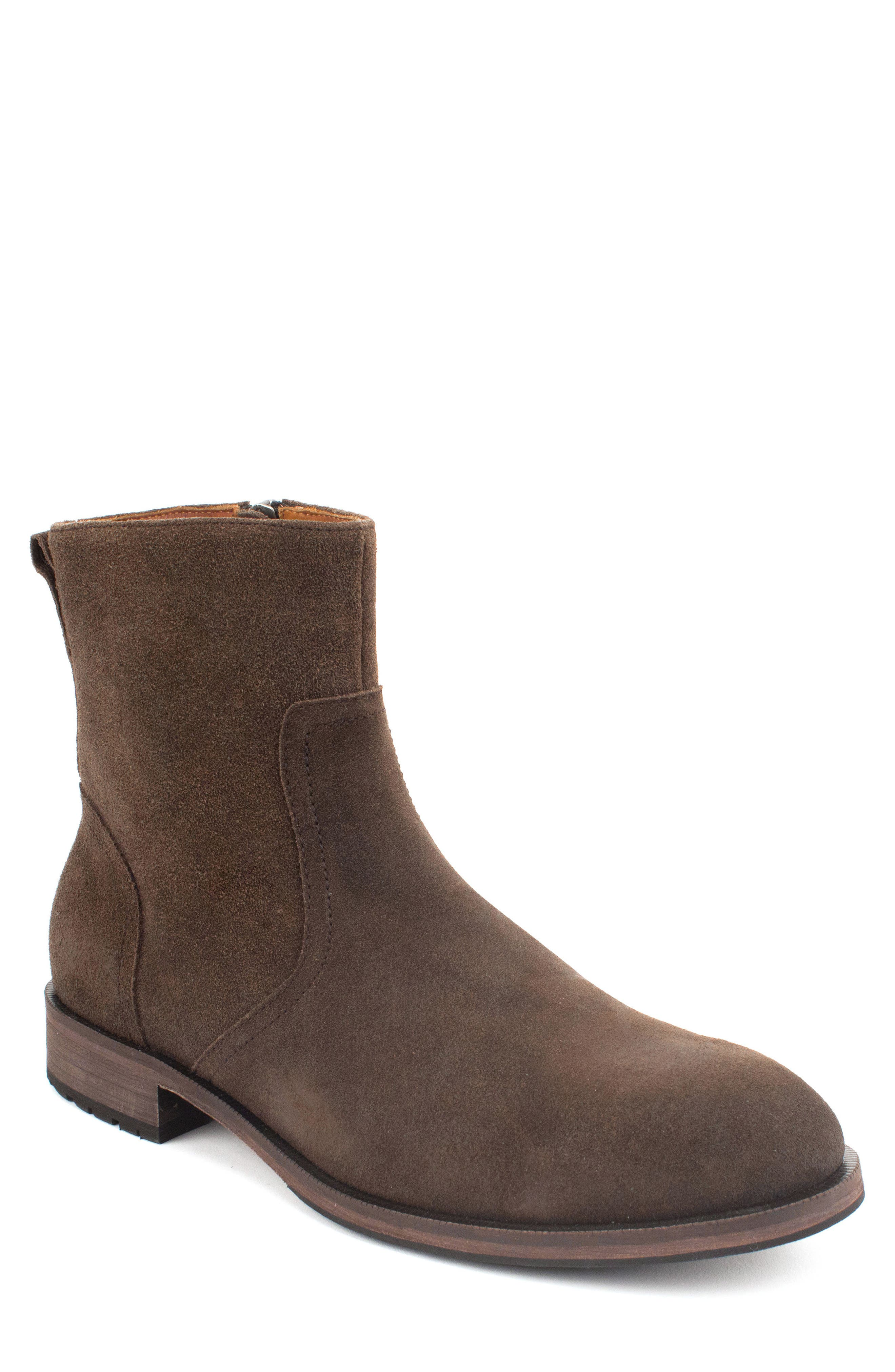 Fayette Plain Toe Zip Boot,                         Main,                         color, CHOCOLATE SUEDE