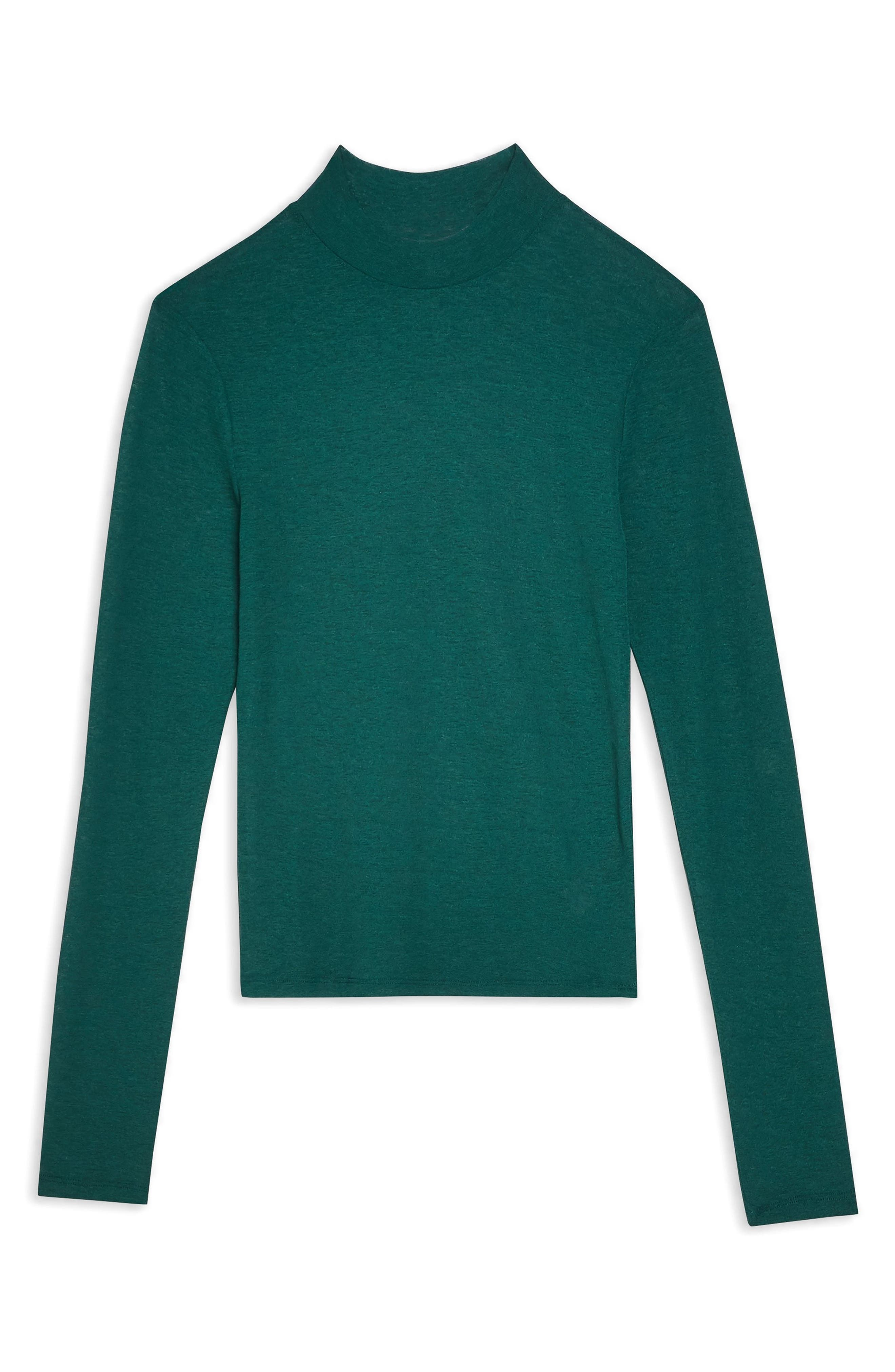 TOPSHOP,                             Solid Mock Neck Top,                             Alternate thumbnail 3, color,                             FOREST