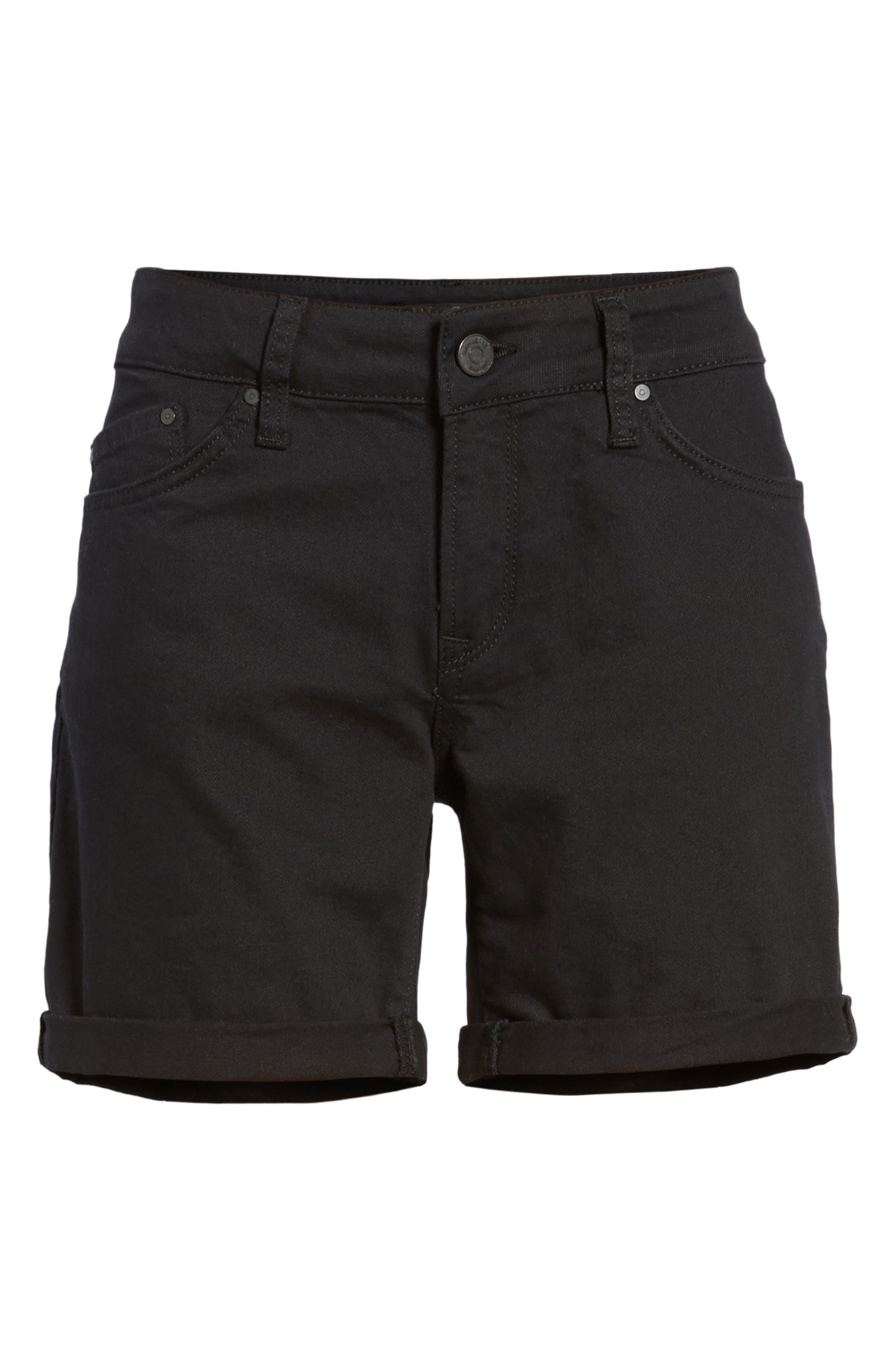 Mavi Pixie Roll Cuff Denim Shorts,                             Alternate thumbnail 6, color,                             BLACK NOLITA