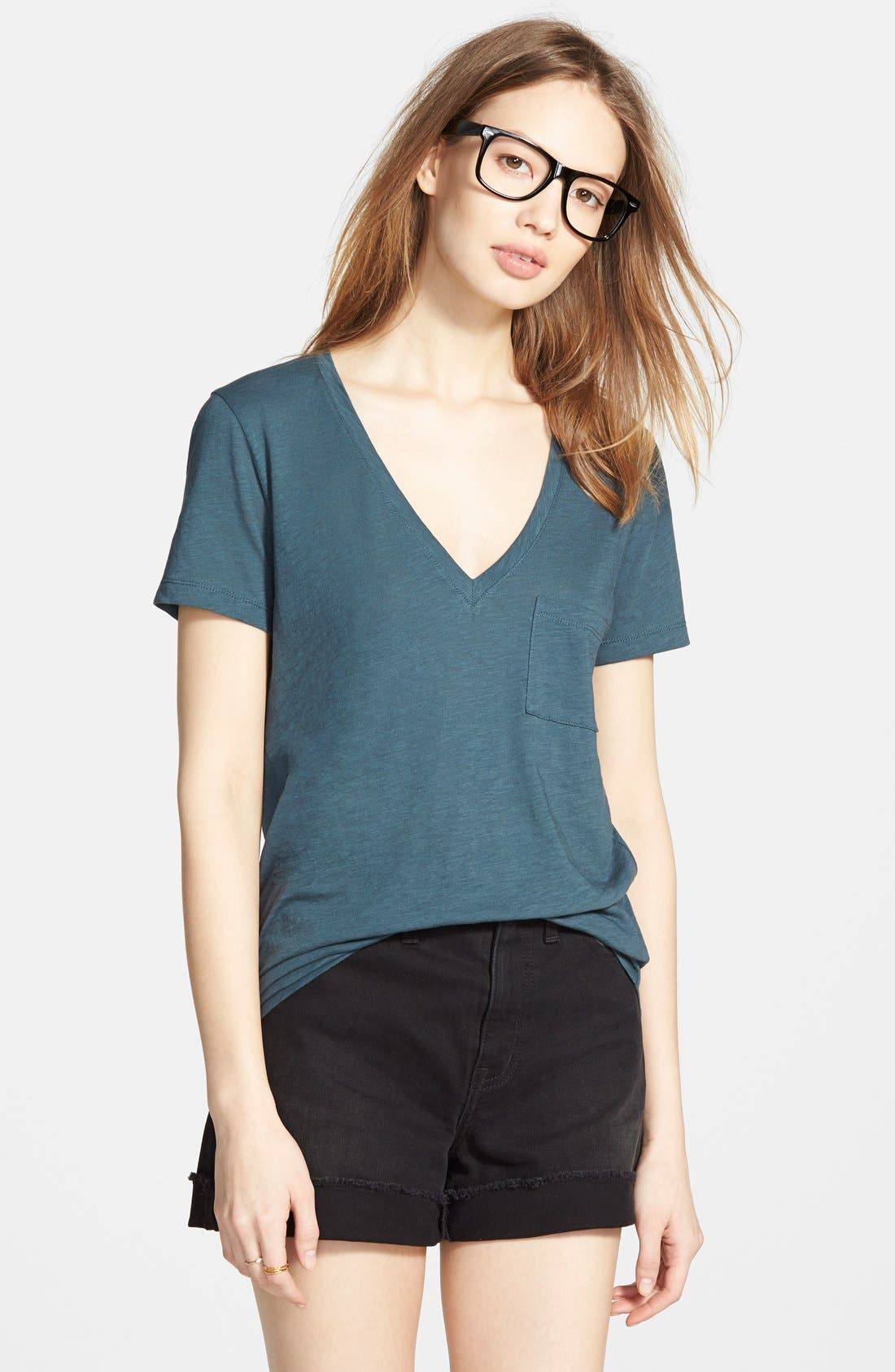 Whisper Cotton V-Neck Pocket Tee,                             Main thumbnail 15, color,