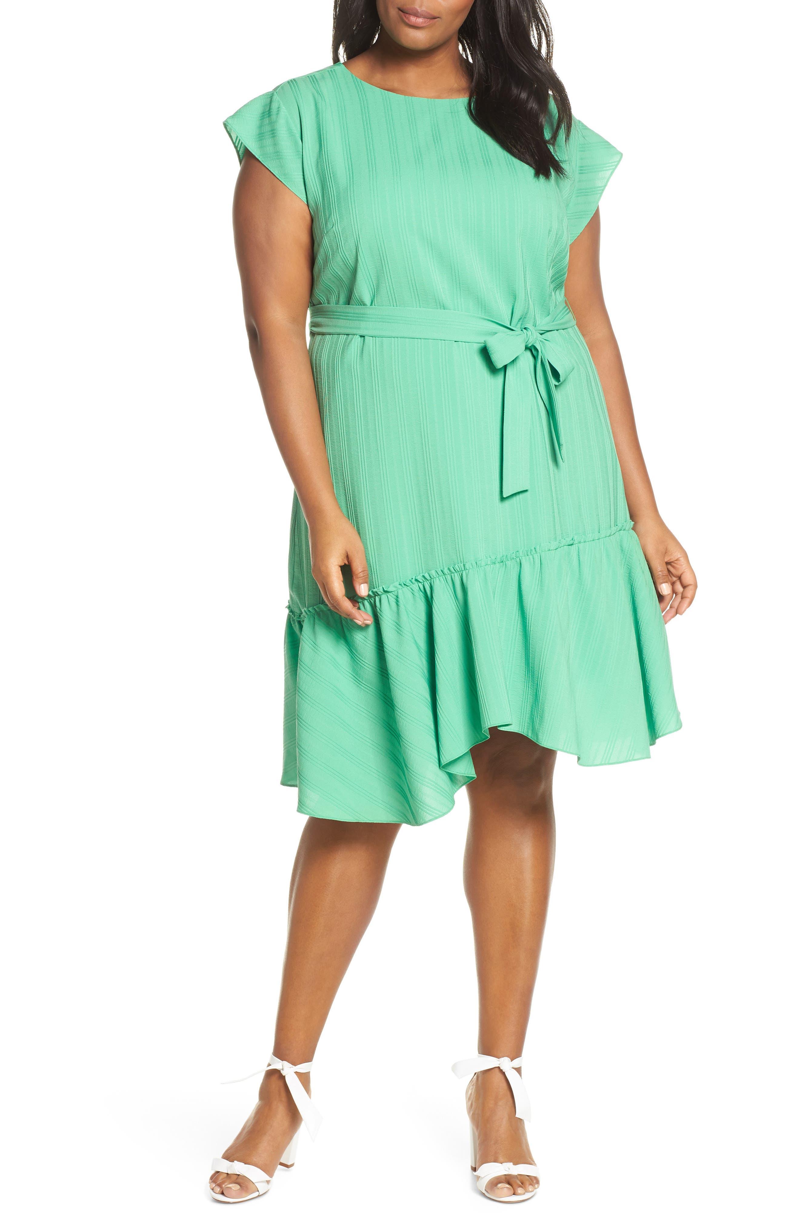 Plus Size Vince Camuto Asymmetrical Ruffle Hem Dress, Green