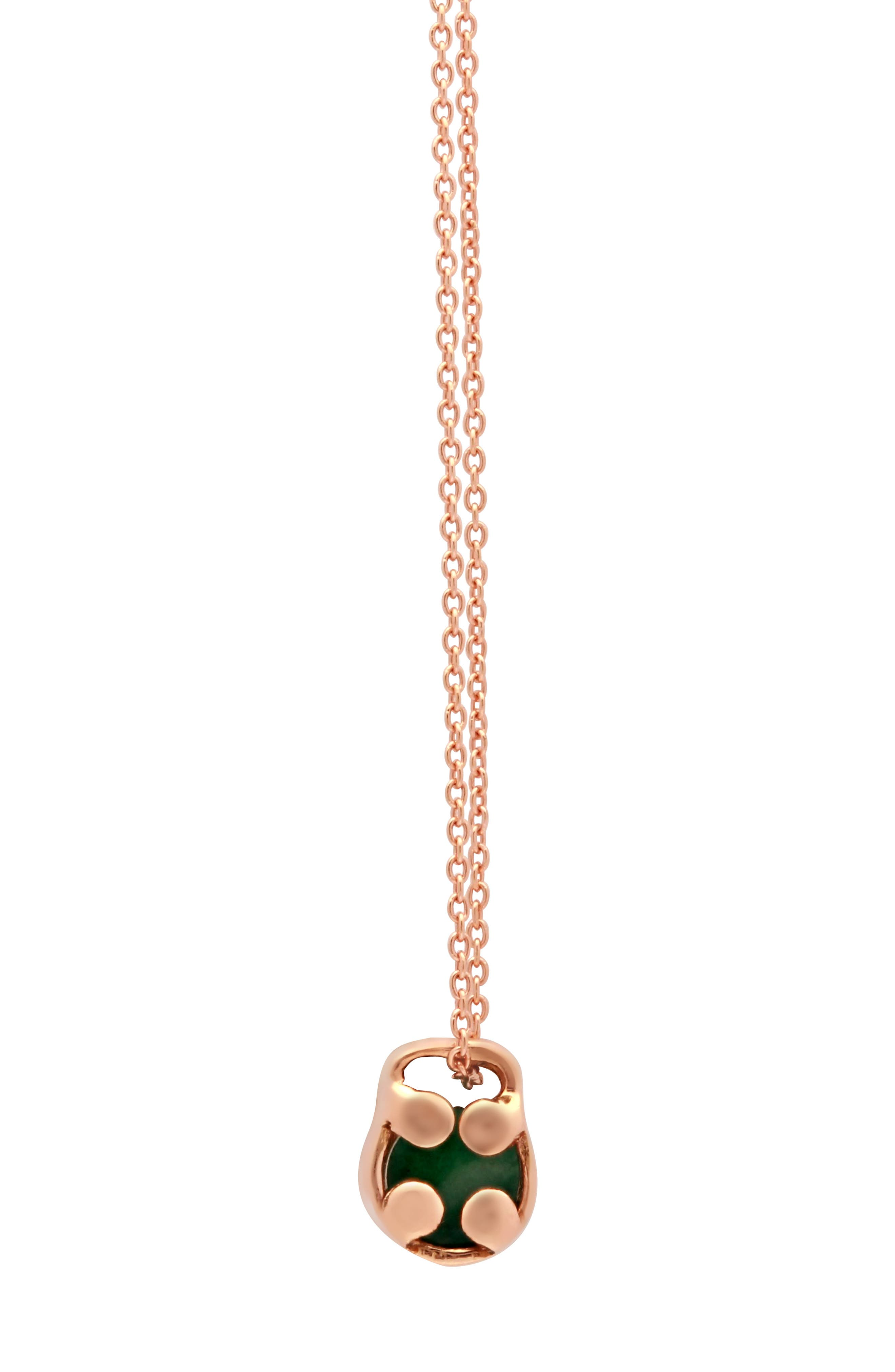 Optimism & Luck Aventurine Initial Barrel Initial Necklace,                             Alternate thumbnail 2, color,                             ROSE GOLD-A