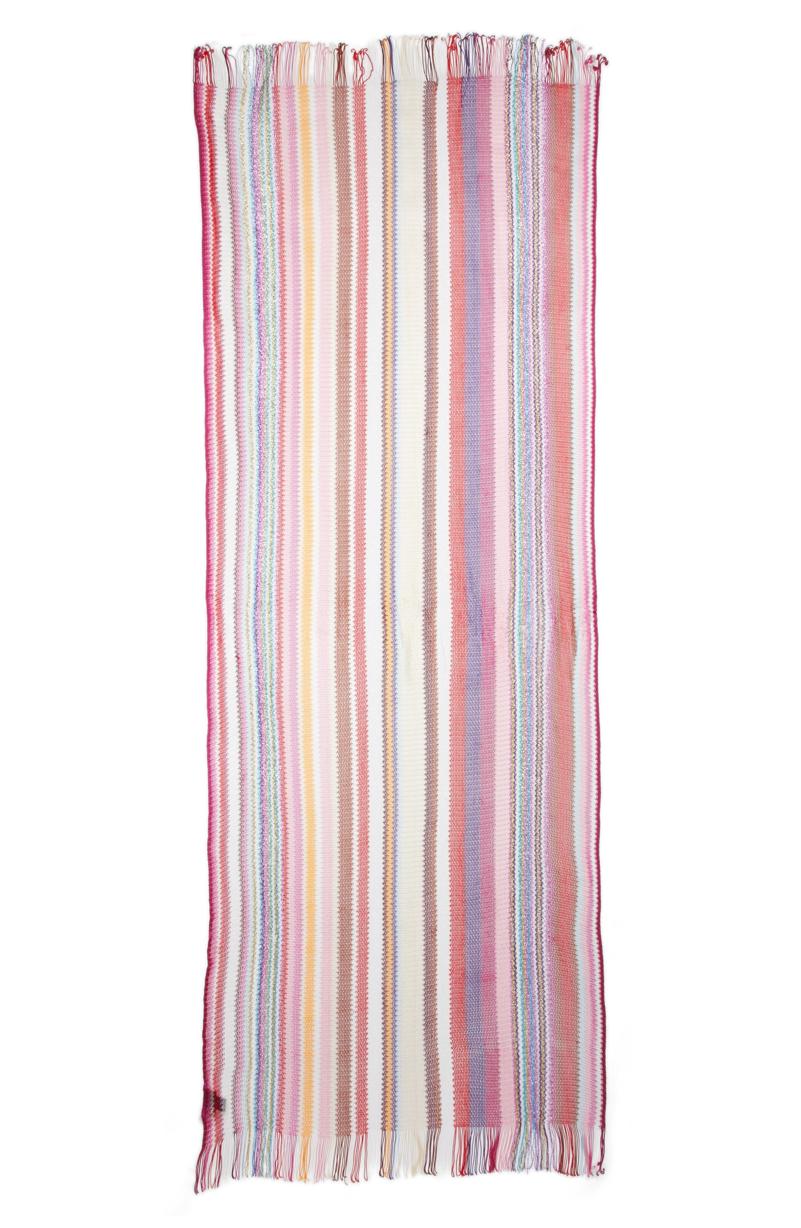 Zigzag Stripe Stole,                             Main thumbnail 1, color,                             MULTI PINK