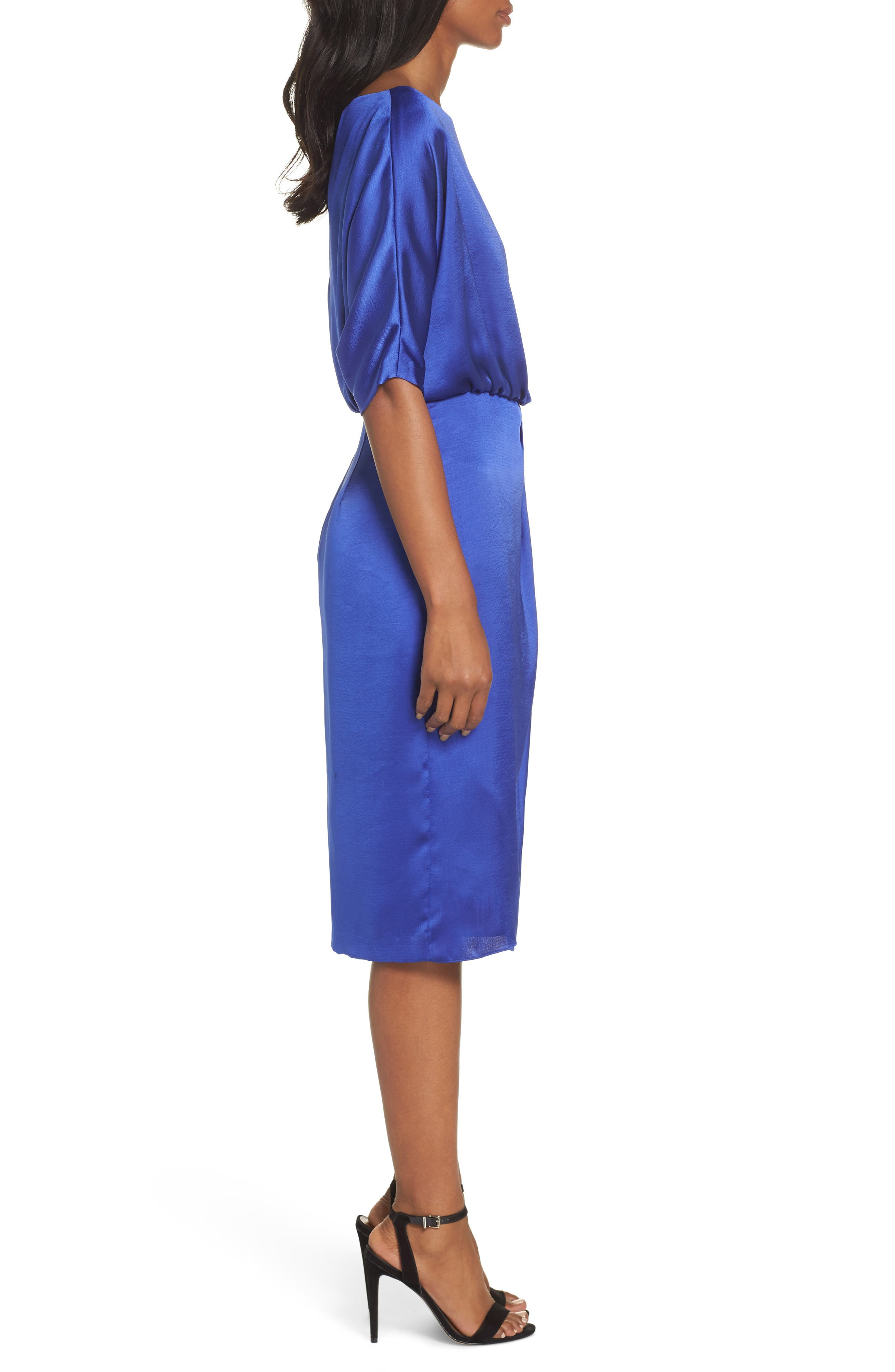 Draped Blouson Dress,                             Alternate thumbnail 3, color,                             EMPIRE BLUE