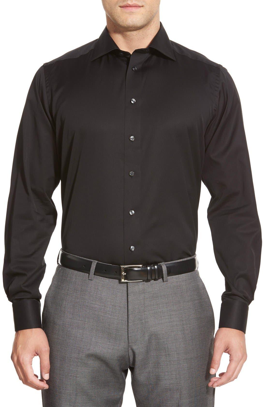 Contemporary Fit Twill Dress Shirt,                             Alternate thumbnail 6, color,                             BLACK