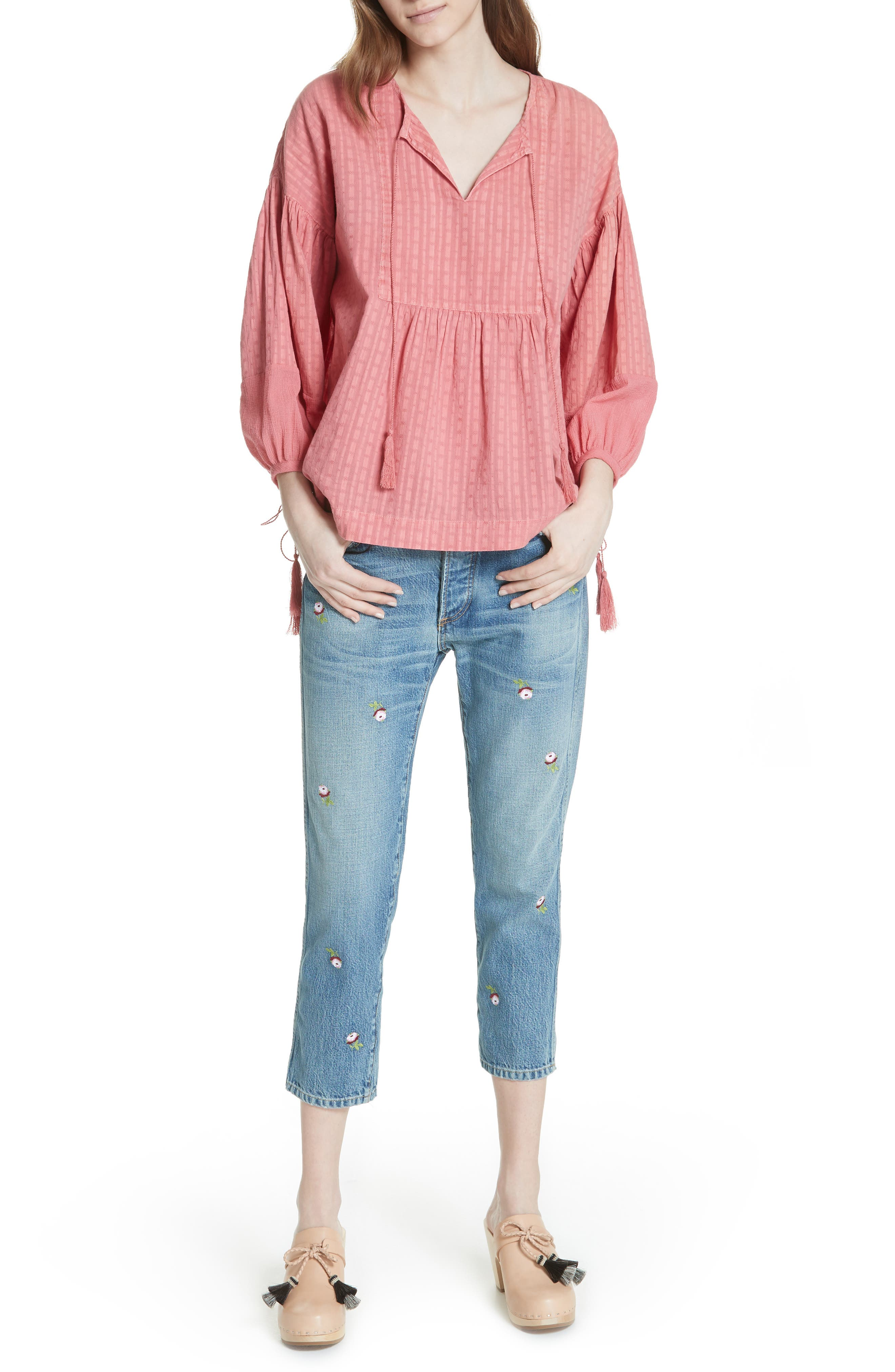 The Rigid Fellow Floral Embroidered Jeans,                             Alternate thumbnail 7, color,                             PRAIRIE WASH W/ ROSETTE