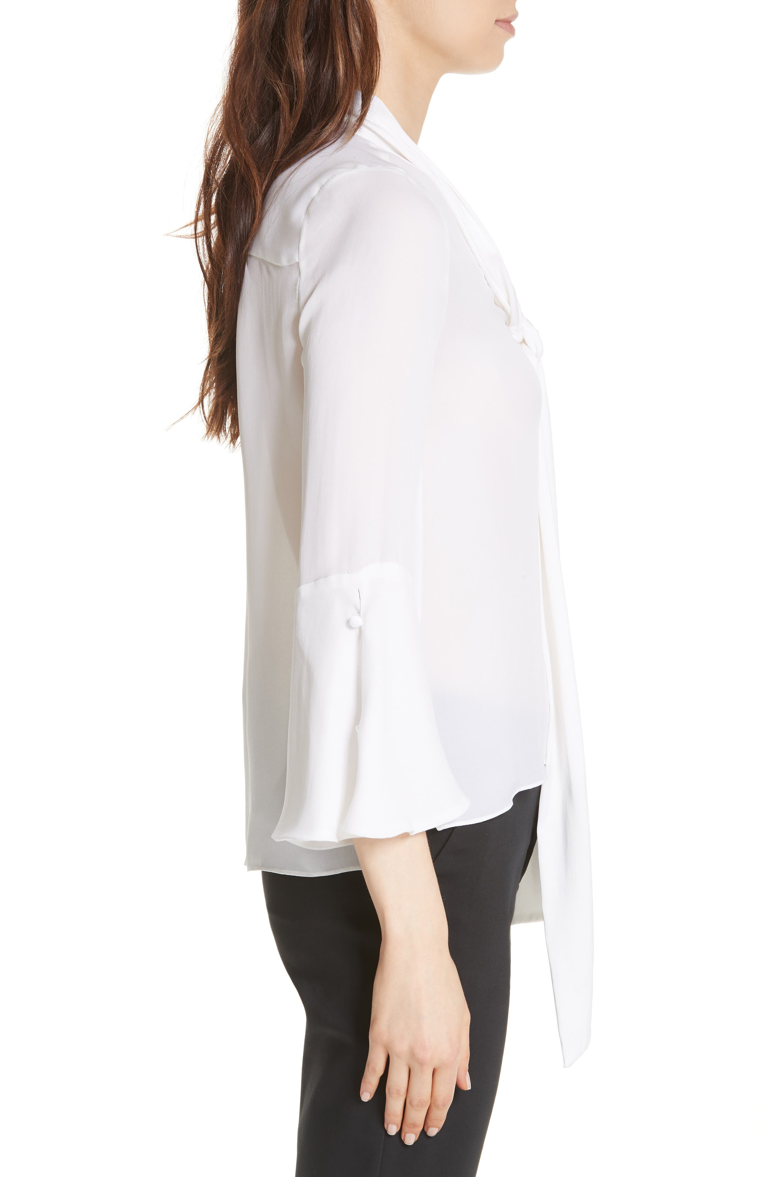Meredith Tie Neck Silk Blouse,                             Alternate thumbnail 3, color,                             WHITE