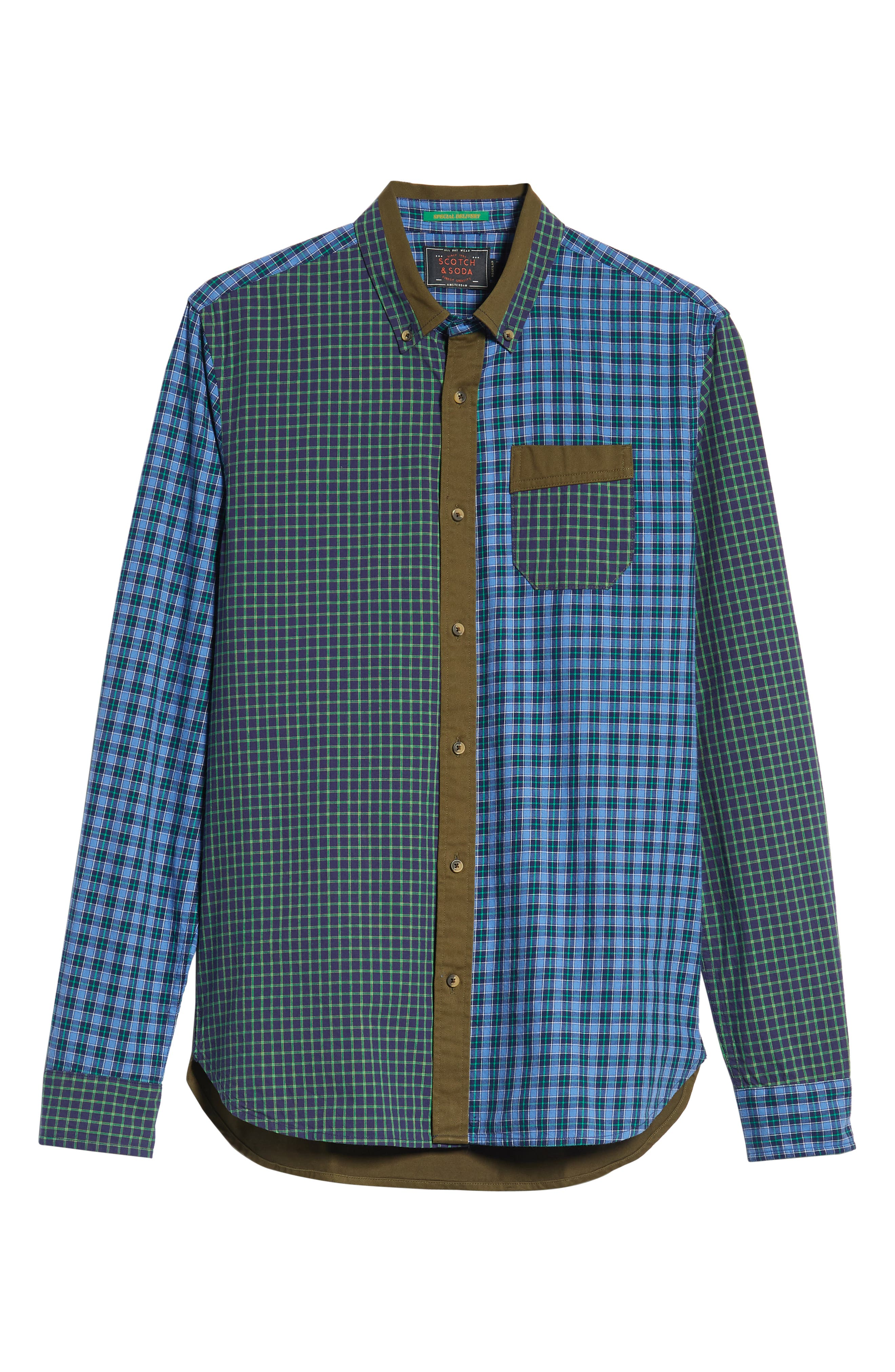 Regular Fit Pattern Blocked Sport Shirt,                             Alternate thumbnail 5, color,                             410