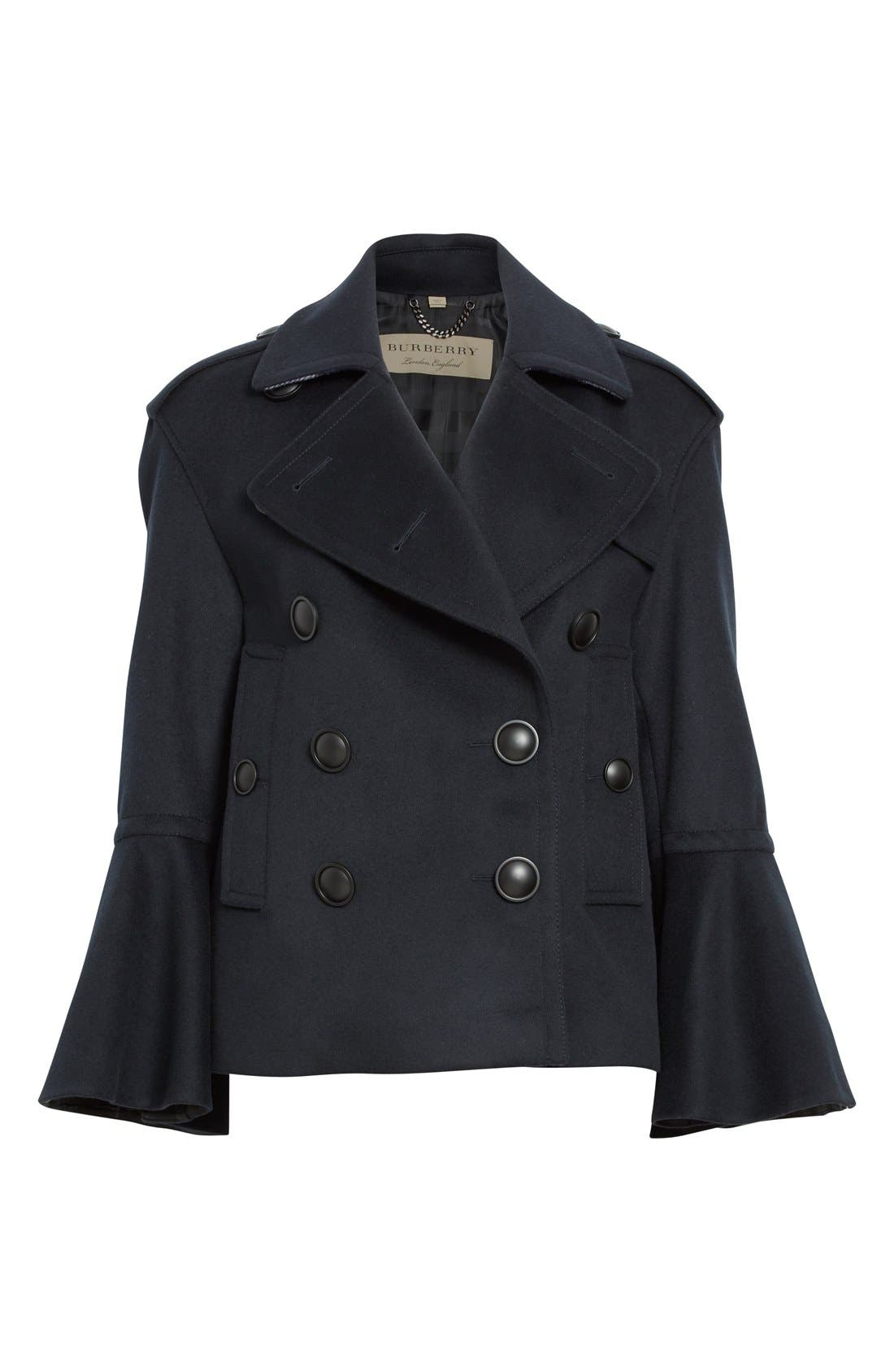 BURBERRY,                             Juliette Townhill Double Breasted Peacoat,                             Alternate thumbnail 6, color,                             410