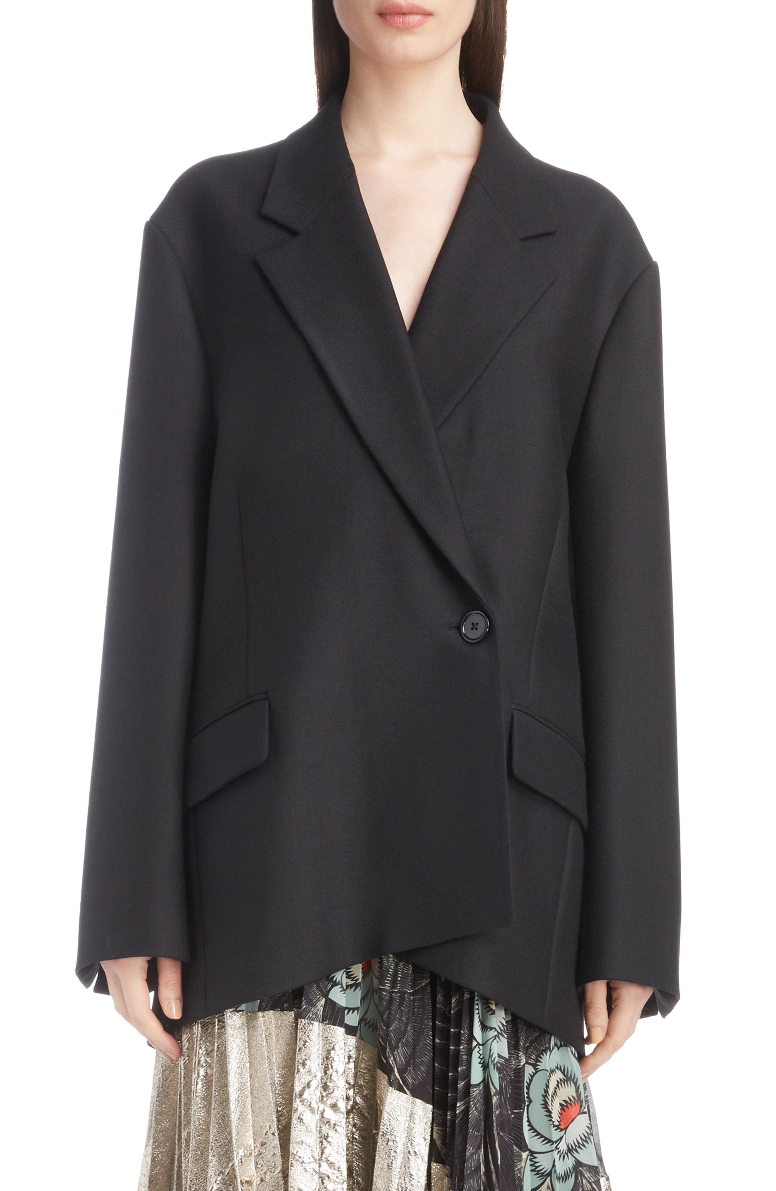 DRIES VAN NOTEN,                             Double Breasted One-Button Blazer,                             Main thumbnail 1, color,                             001