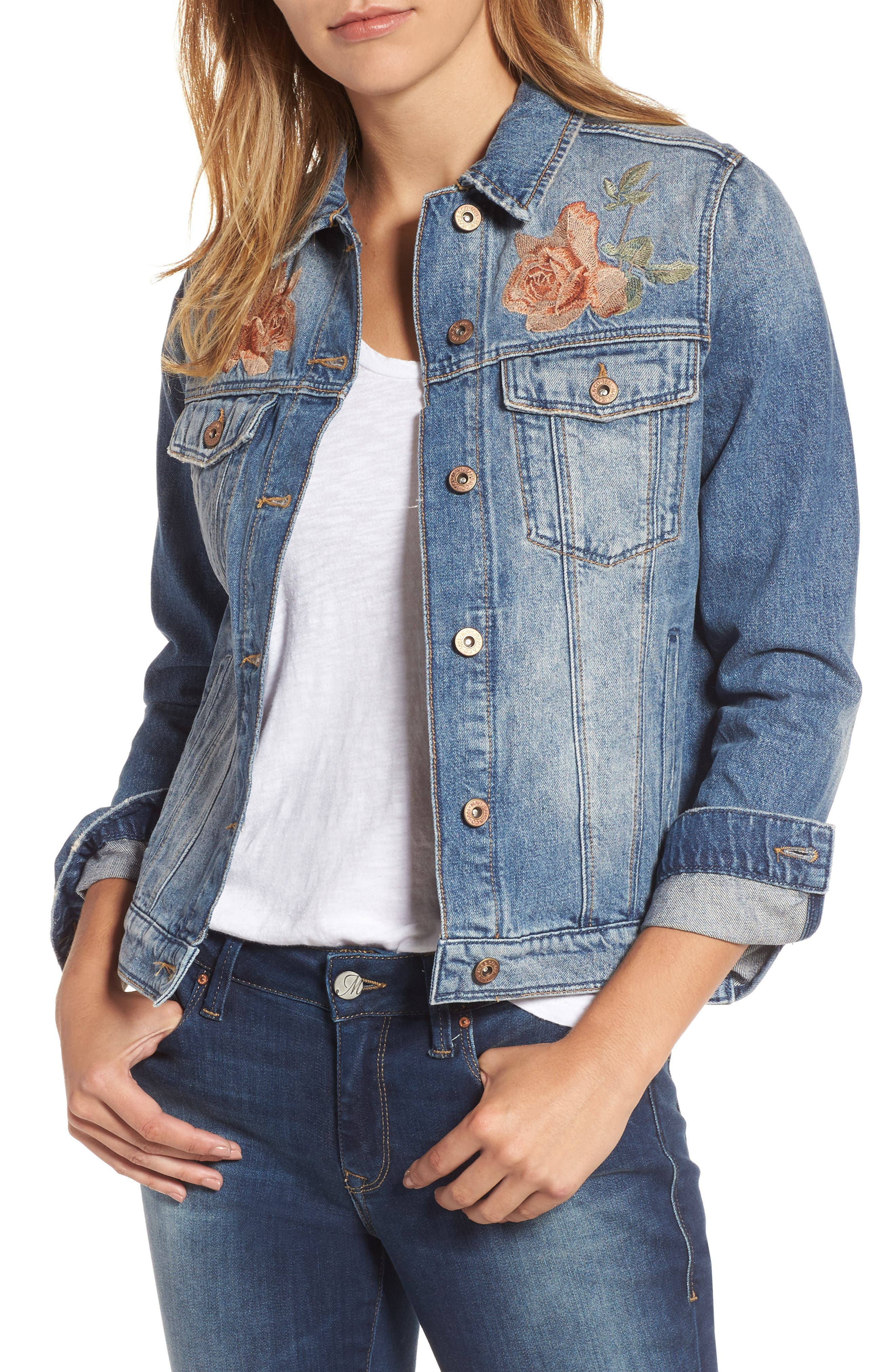 Mavi Katy Rose Embroidered Denim Jacket Nordstrom