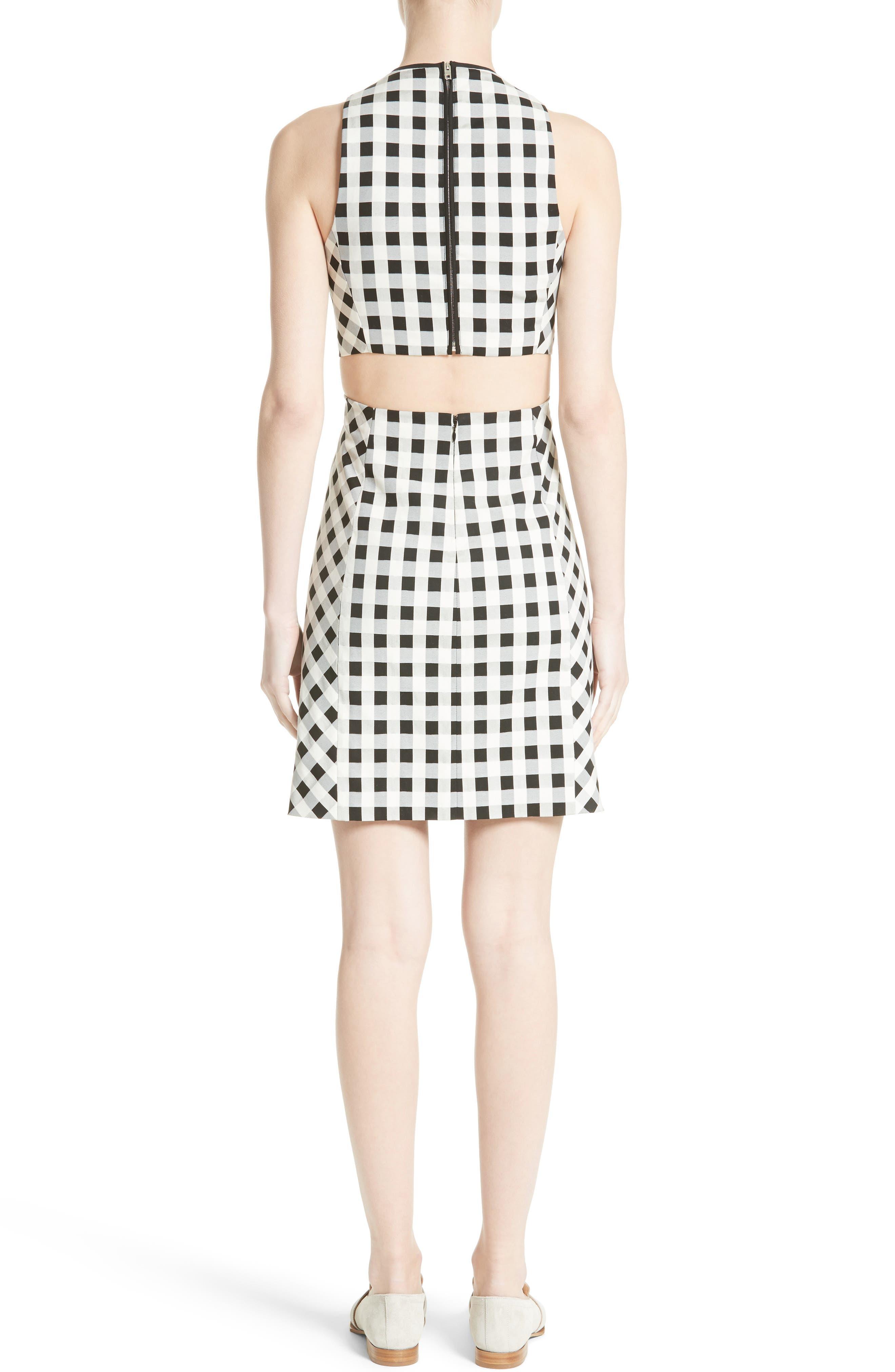 Tahoe Gingham Dress,                             Alternate thumbnail 2, color,                             BLACK/ WHITE