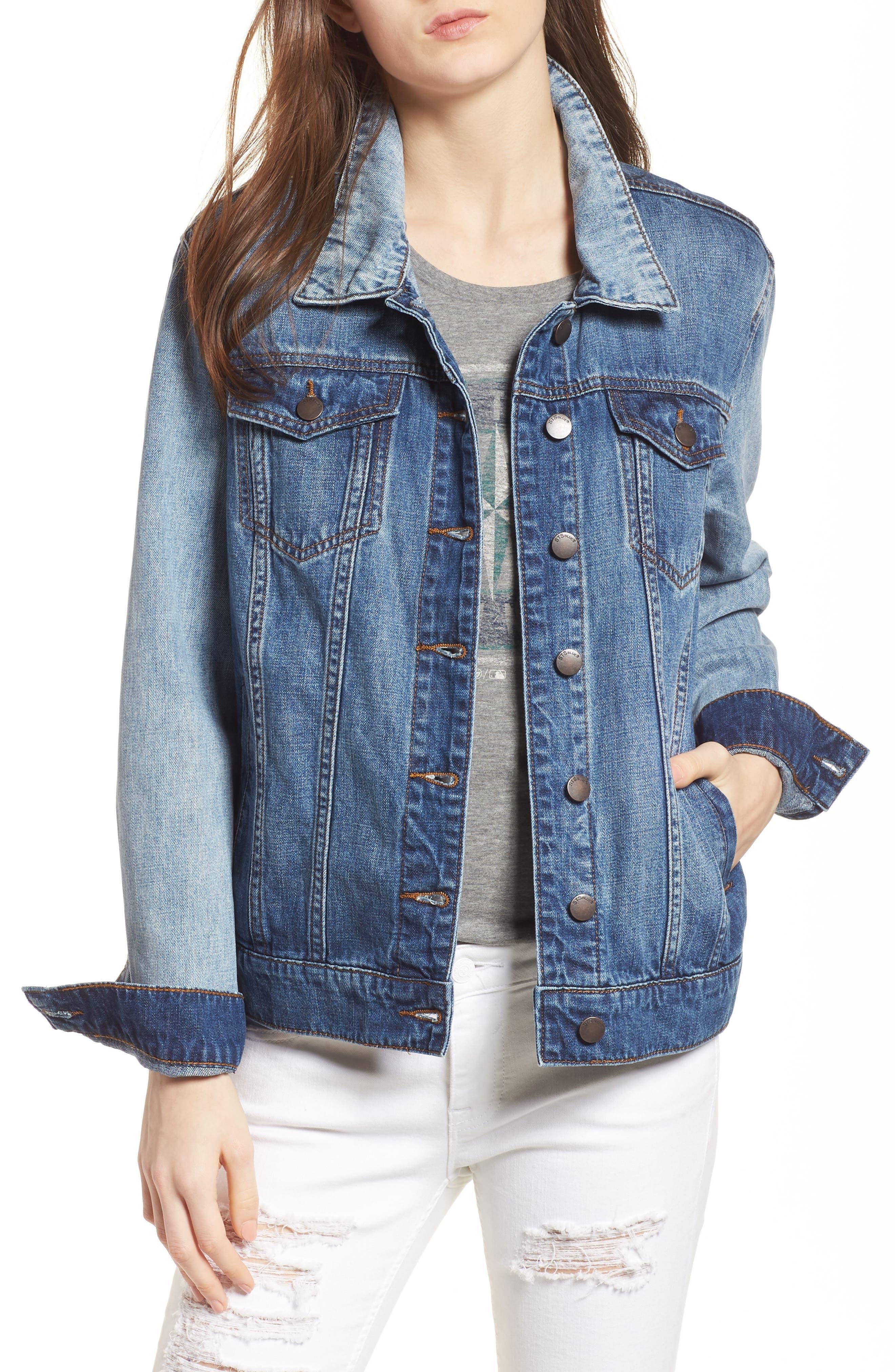 Oversize Colorblock Denim Jacket,                         Main,                         color, 400