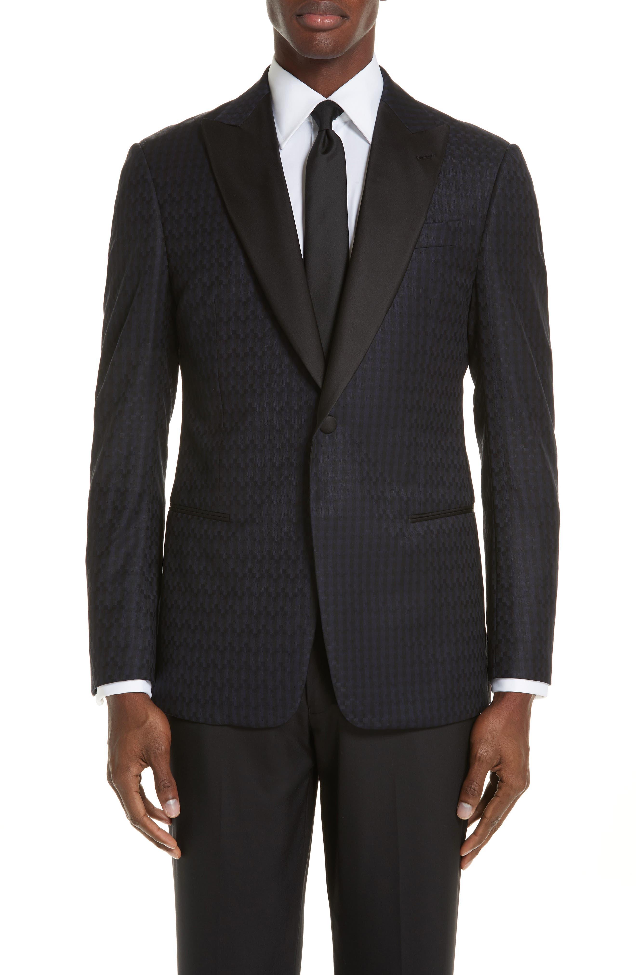 EMPORIO ARMANI Men'S Tonal Geometric Wool Dinner Jacket in Midnight