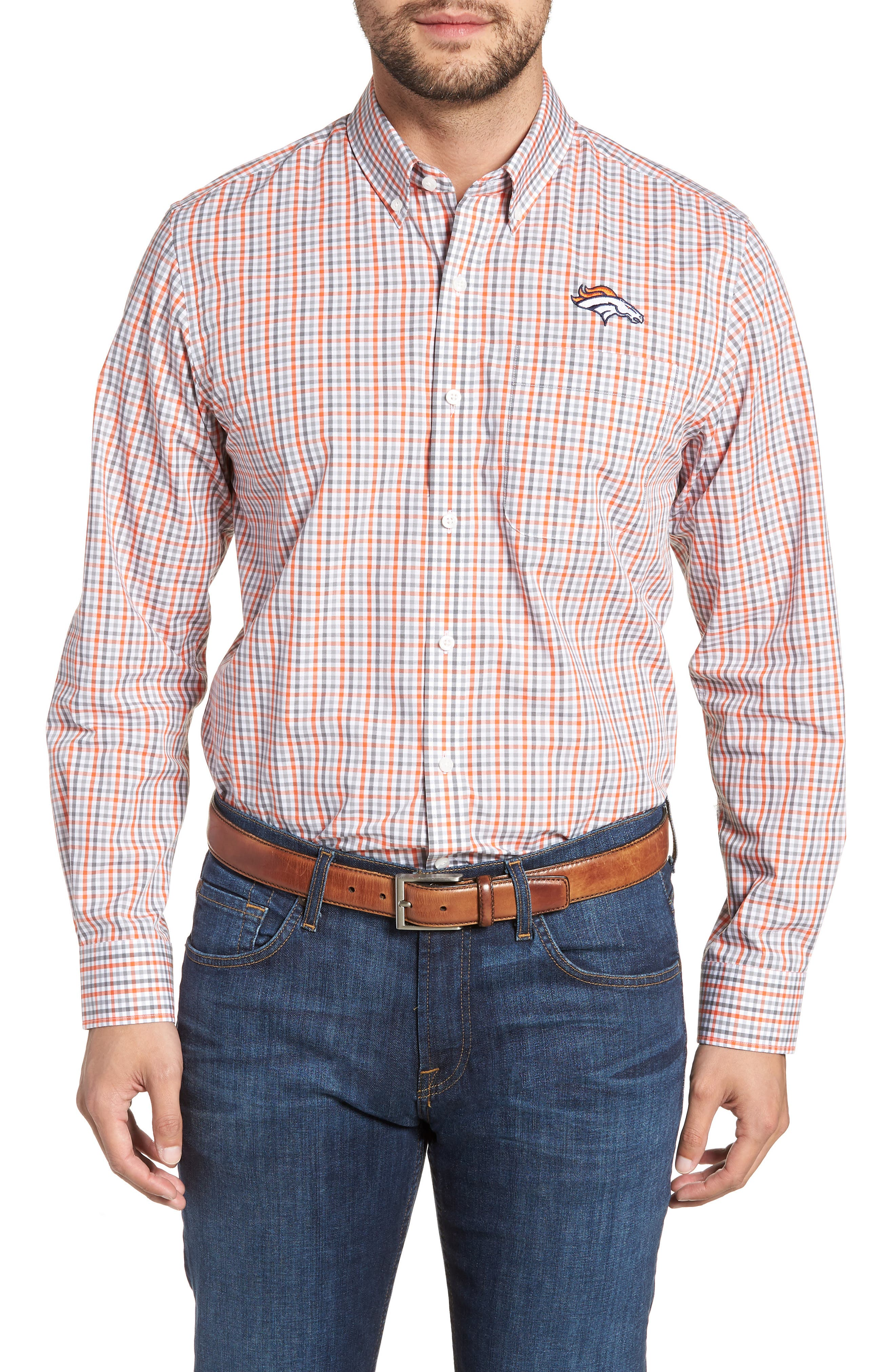 Denver Broncos - Gilman Regular Fit Plaid Sport Shirt,                         Main,                         color, COLLEGE ORANGE
