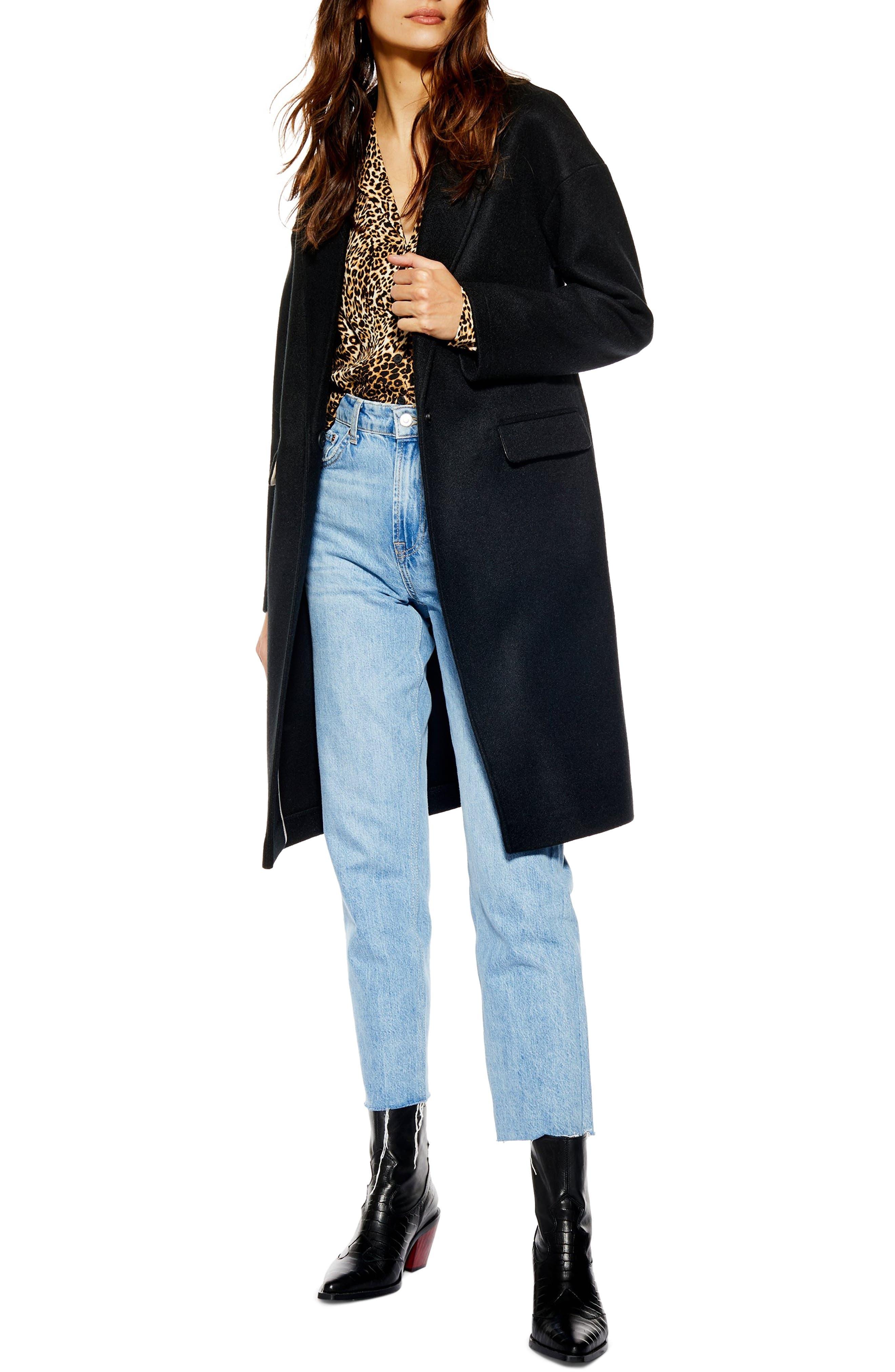 Lily Knit Back Midi Coat,                         Main,                         color, BLACK