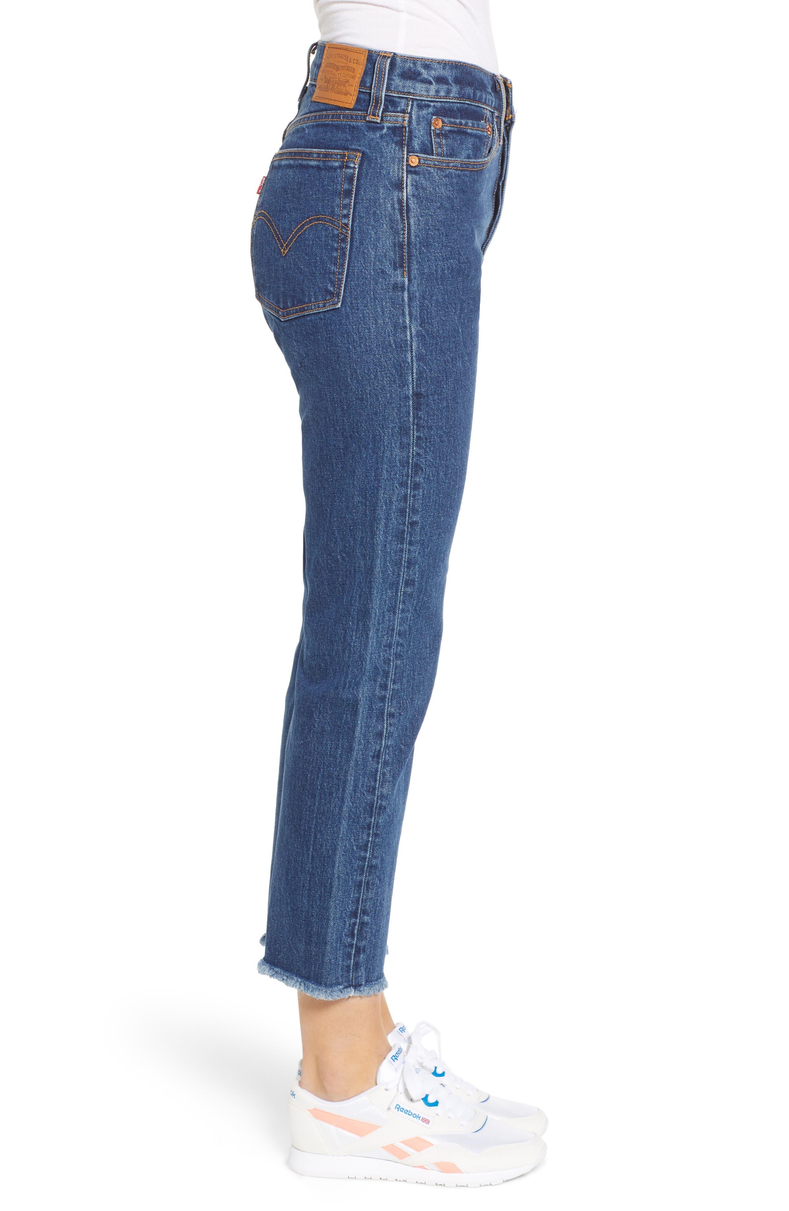 Wedgie High Waist Ankle Straight Leg Jeans,                             Alternate thumbnail 3, color,                             BELOW THE BELT