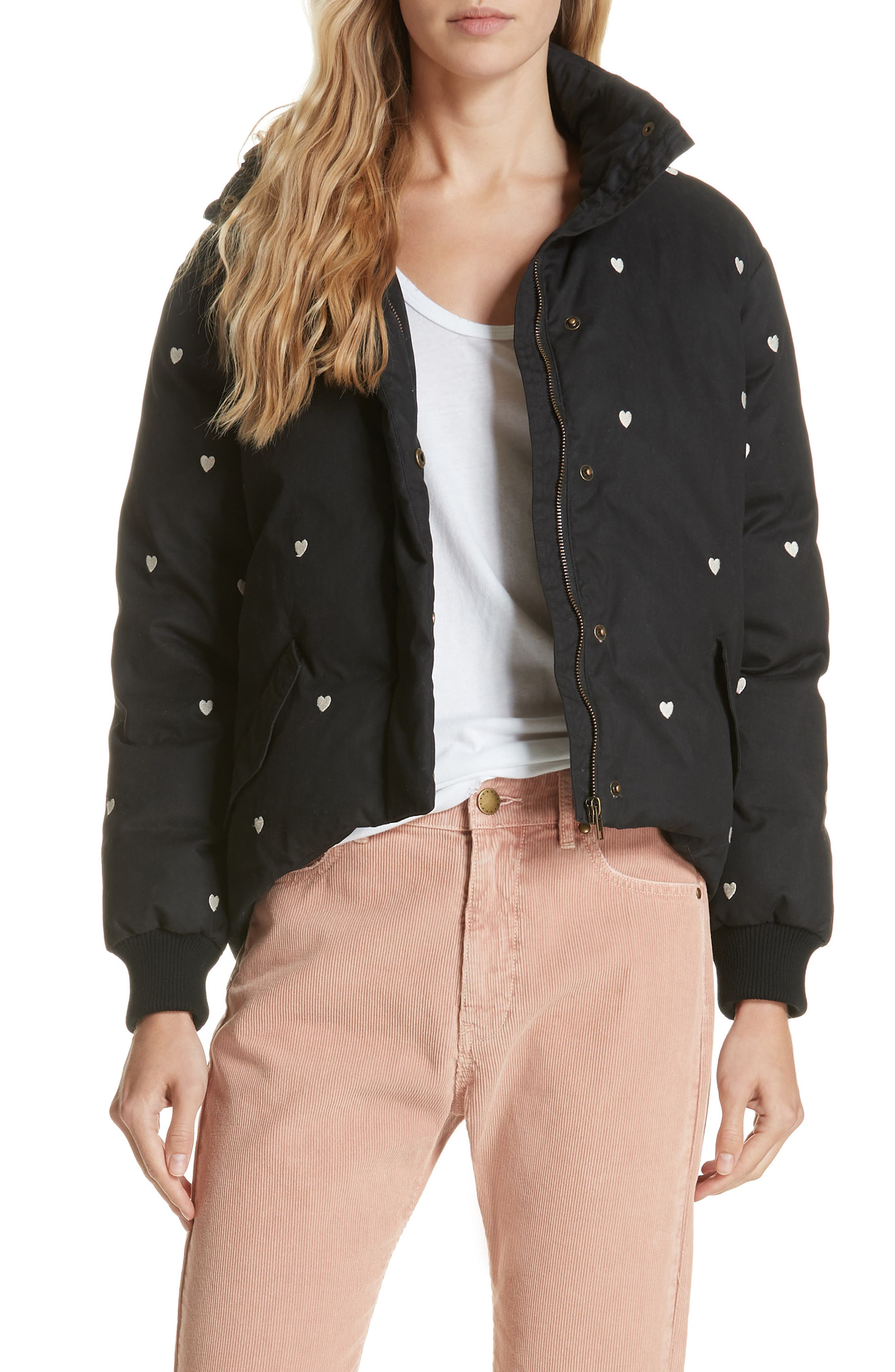 Heart Embroidered Puffer Coat,                             Main thumbnail 1, color,                             BLACK W/ WHITE HEART EMB