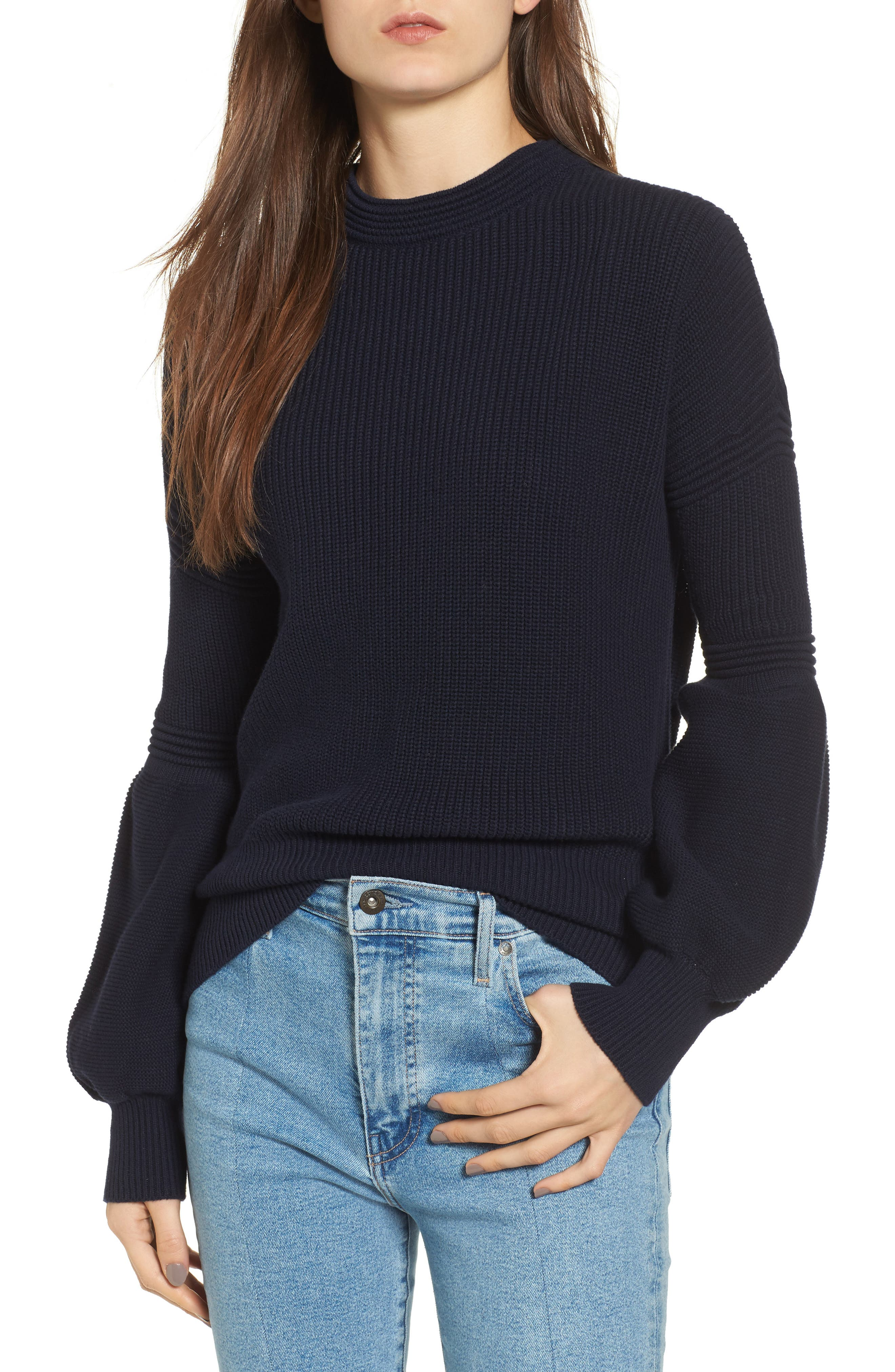 Sculpture Puff Sleeve Sweater,                         Main,                         color, 410