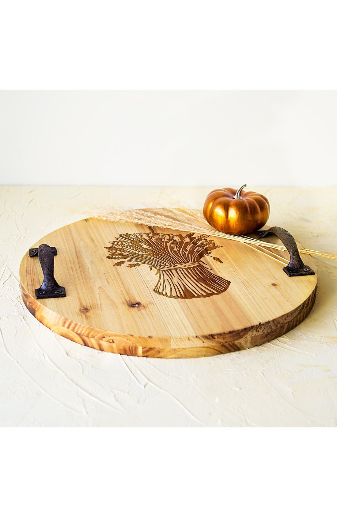 'Wheat Stalk' Rustic Wooden Tray,                             Alternate thumbnail 3, color,