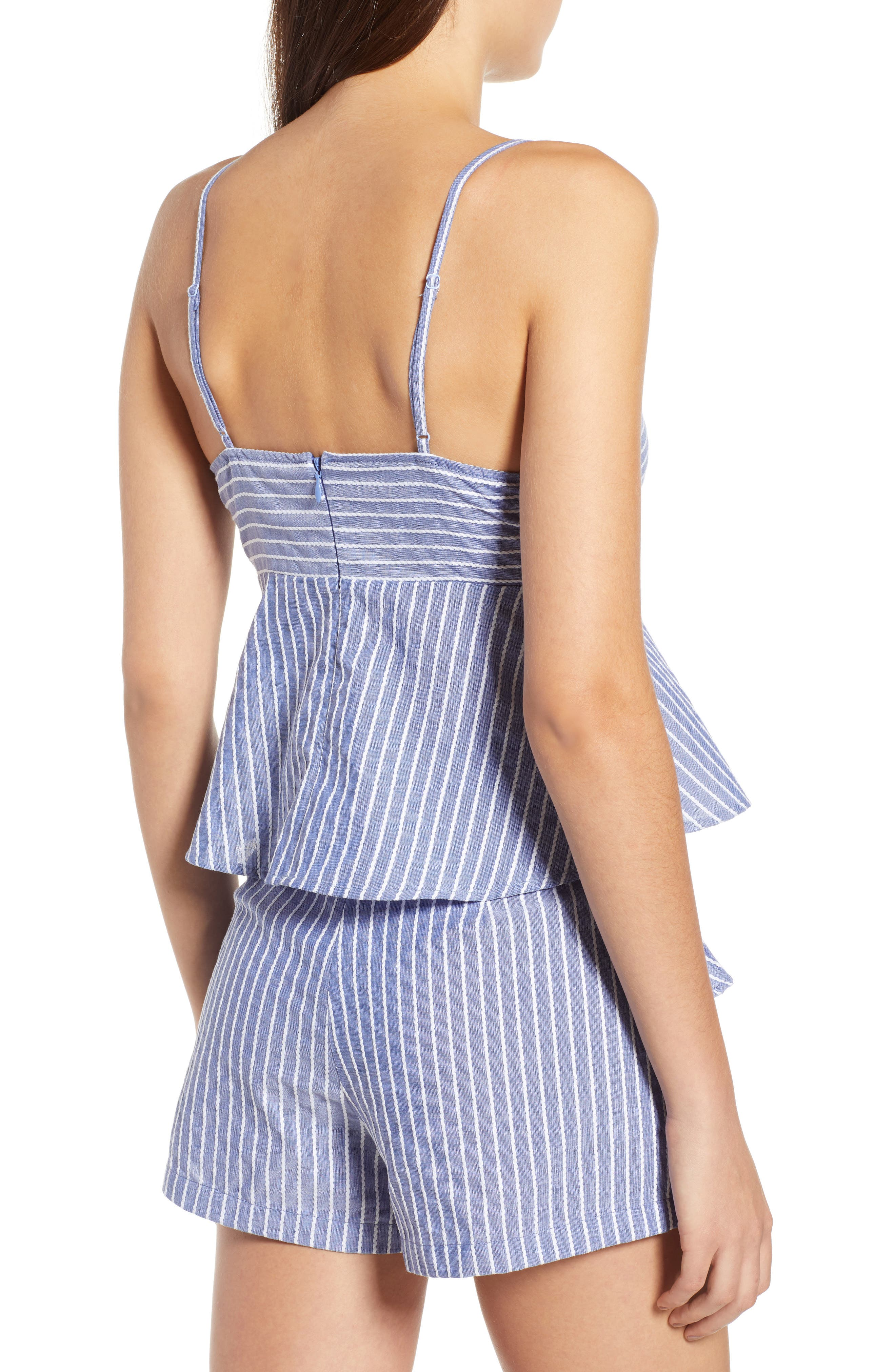 Parcel Stripe Tie Front Tank,                             Alternate thumbnail 2, color,                             BLUE WITH WHITE