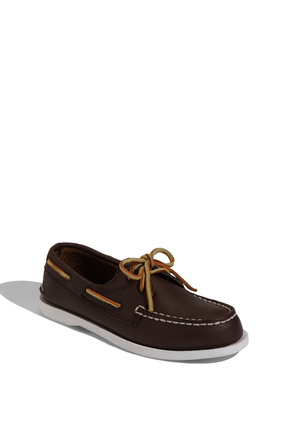 SPERRY KIDS,                             'Authentic Original' Boat Shoe,                             Main thumbnail 1, color,                             BROWN LEATHER