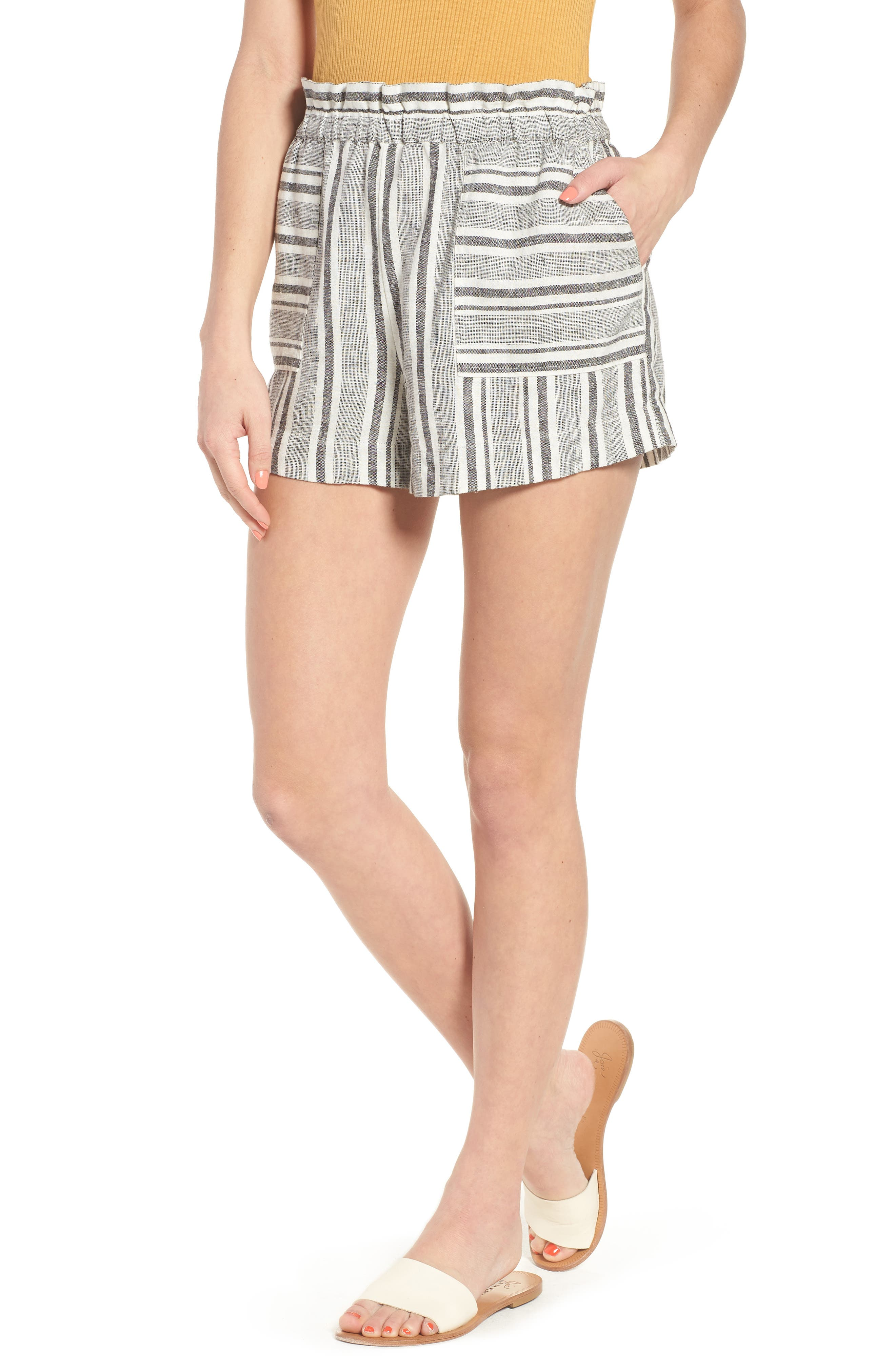 Stripe Linen Blend Shorts,                             Main thumbnail 1, color,                             BLACK VIOLA STRIPE
