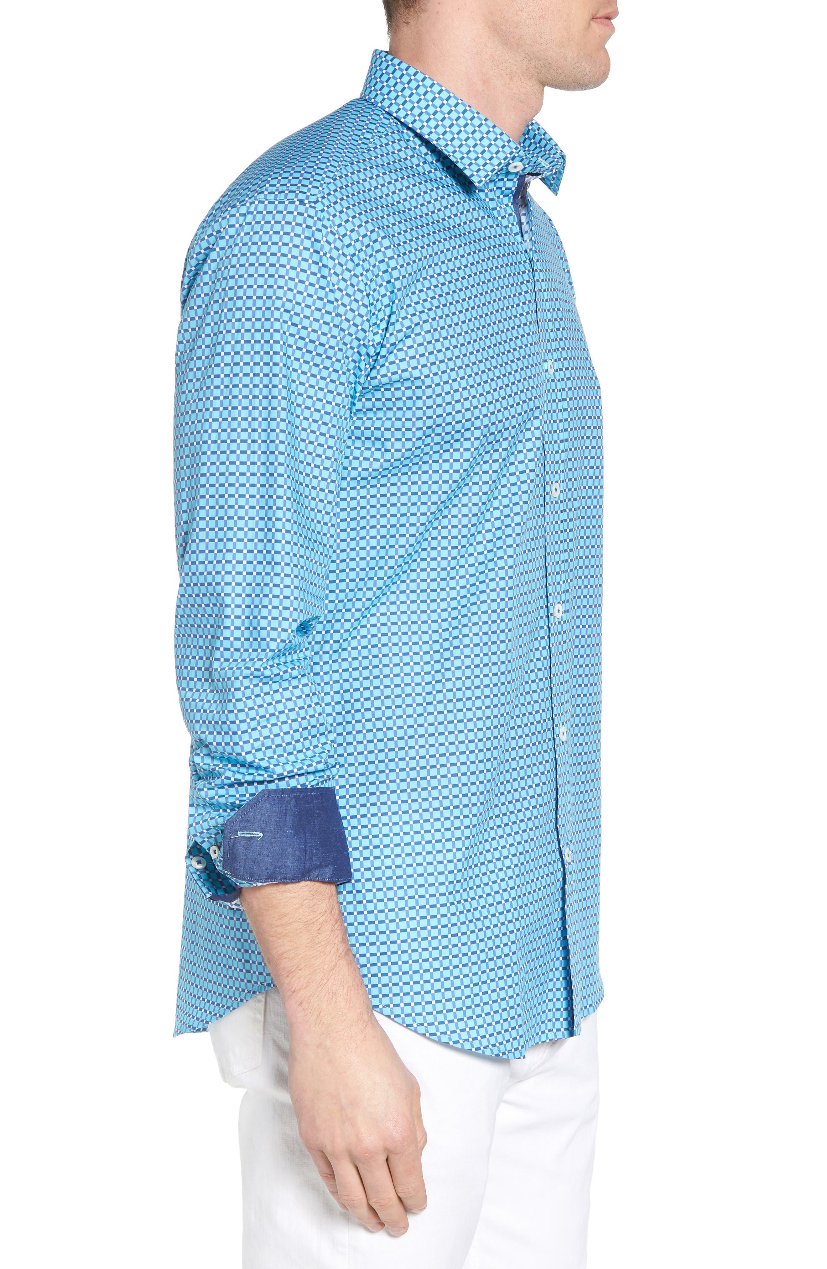 Shaped Fit Print Sport Shirt,                             Alternate thumbnail 12, color,