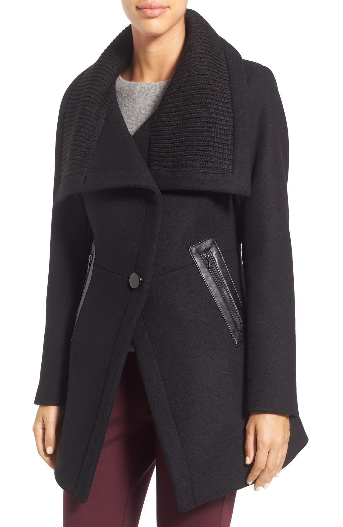 'Maddi' Knit Collar Cutaway Wool Blend Coat,                             Main thumbnail 1, color,                             001