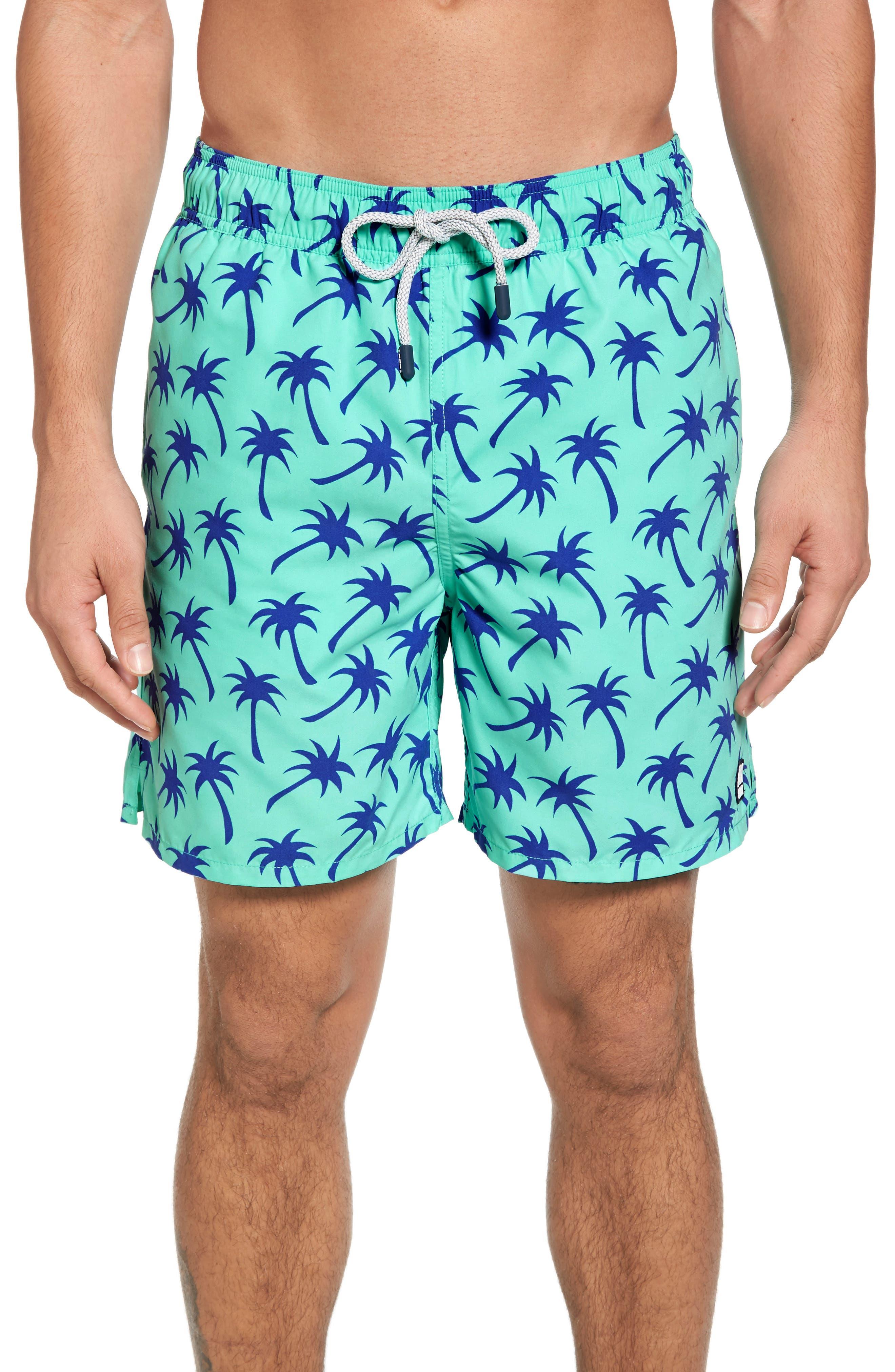 Palm Tree Print Swim Trunks,                             Main thumbnail 1, color,                             EMERALD/ BLUE