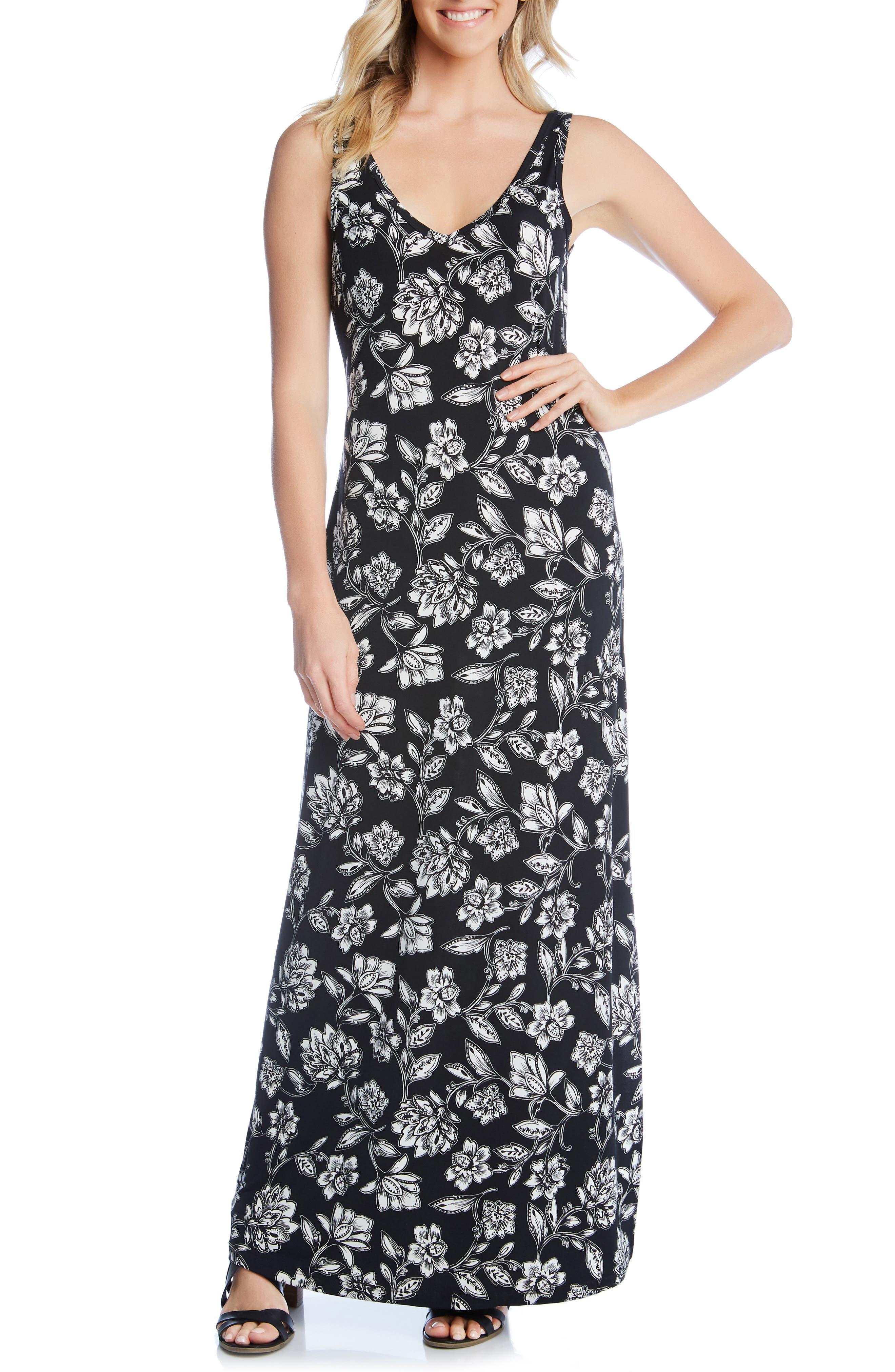 Karen Kane Floral Print Maxi Dress, Black