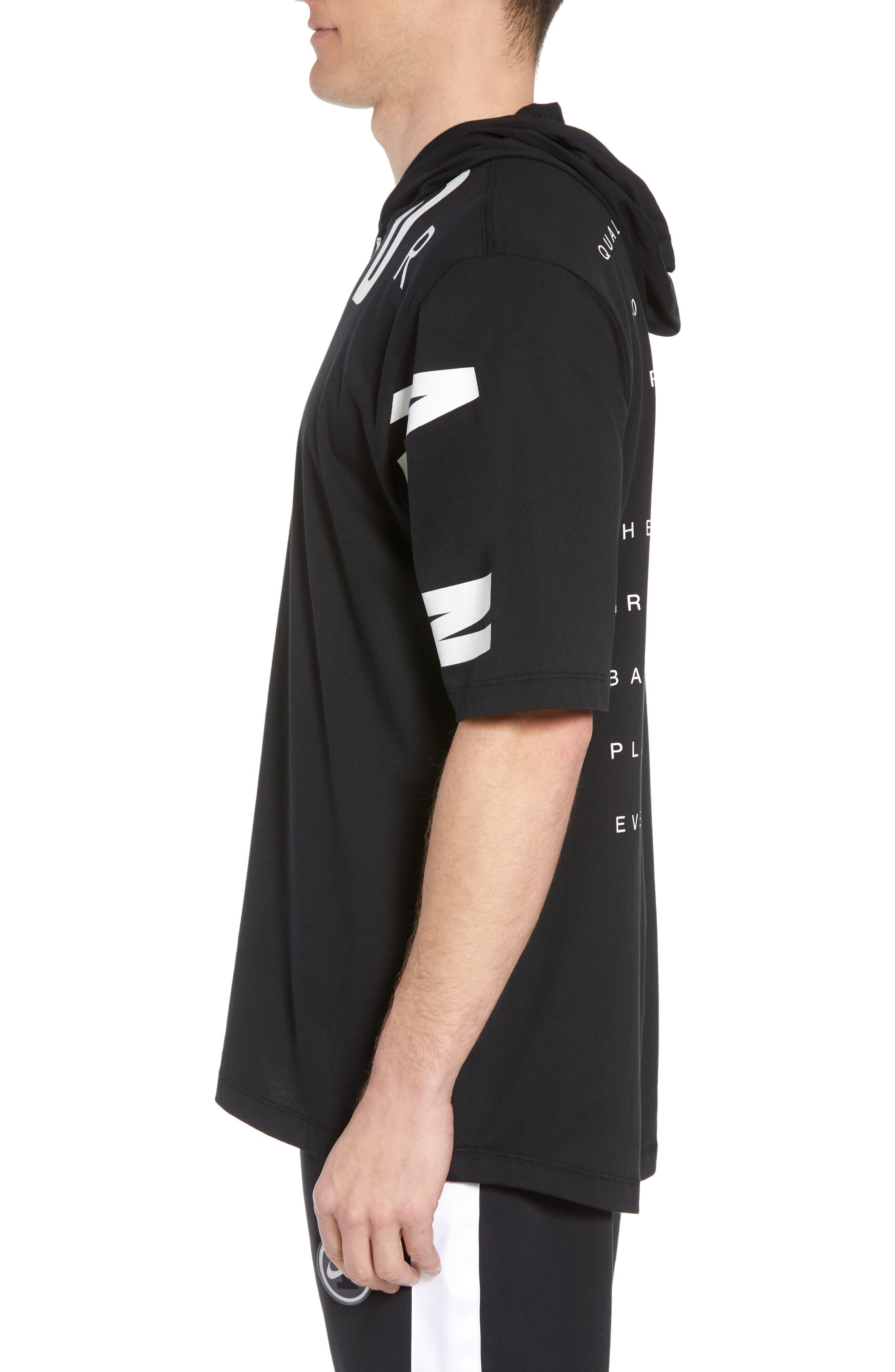 Jordan 23 Hooded T-Shirt,                             Alternate thumbnail 3, color,                             BLACK/ WHITE