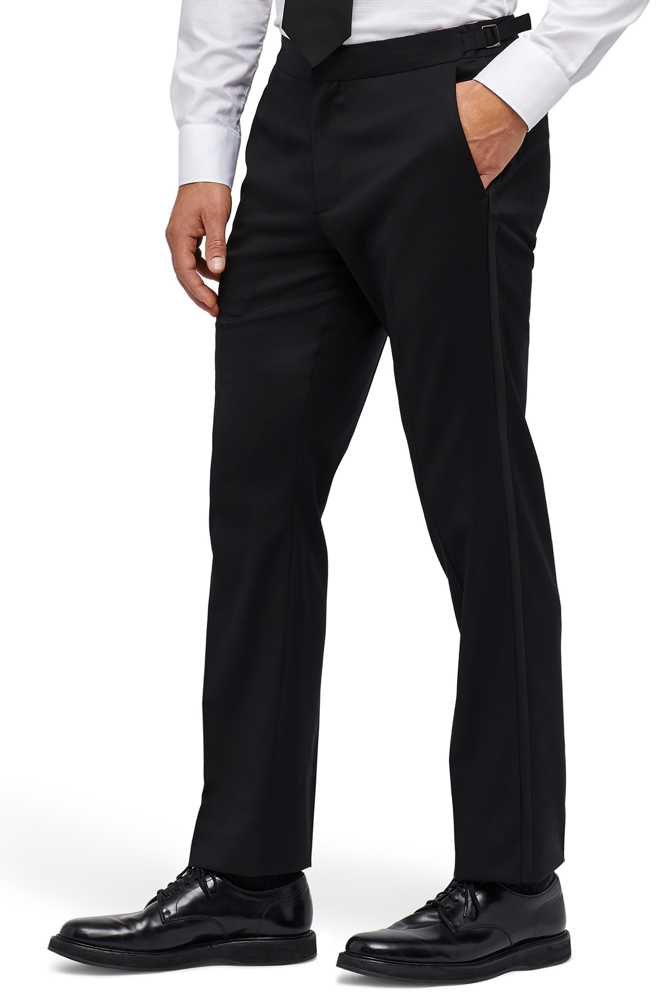 Slim Fit Performance Tuxedo Pants,                             Alternate thumbnail 3, color,                             BLACK