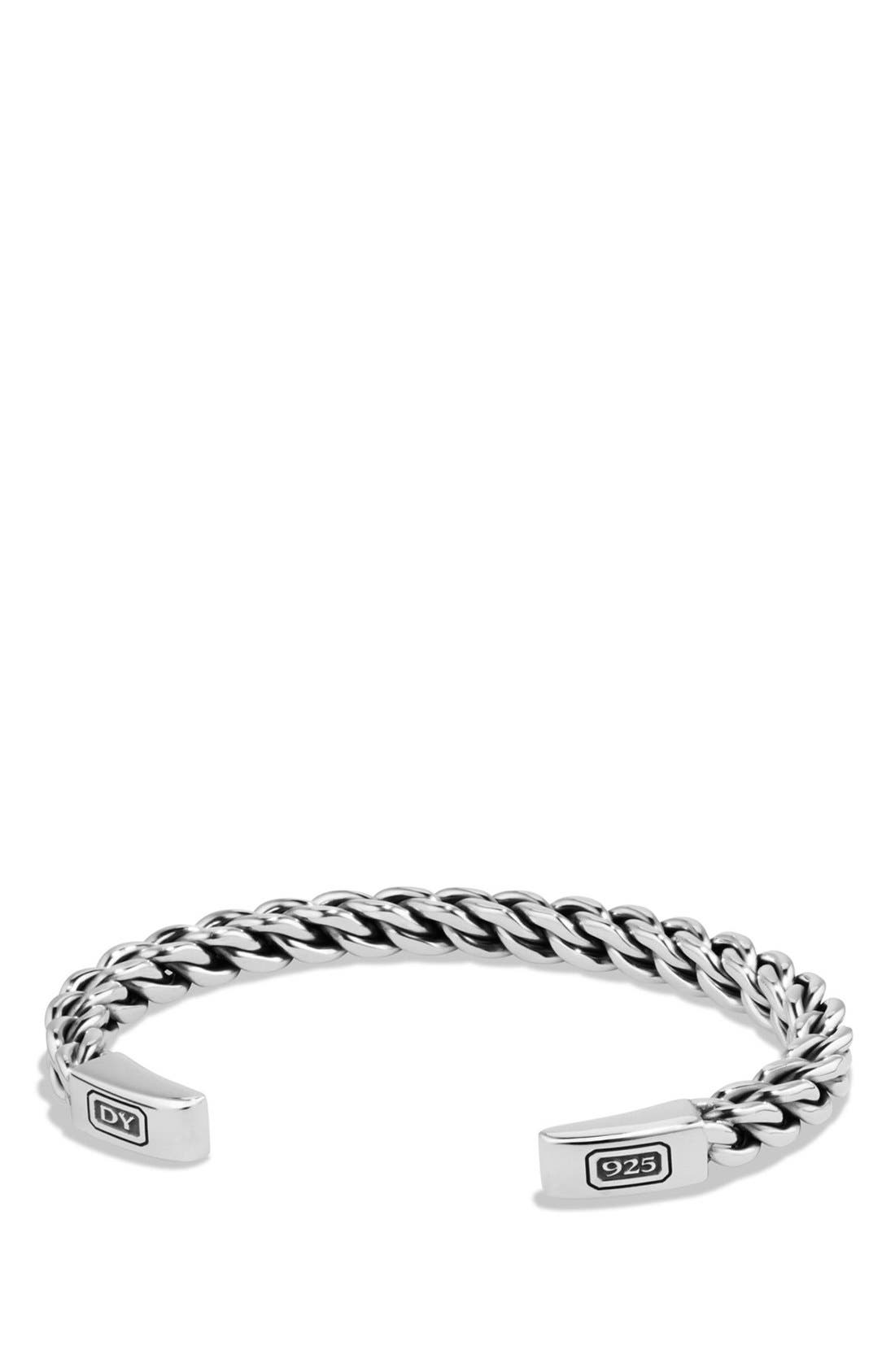 'Chain' Woven Cuff Bracelet,                             Main thumbnail 1, color,                             SILVER