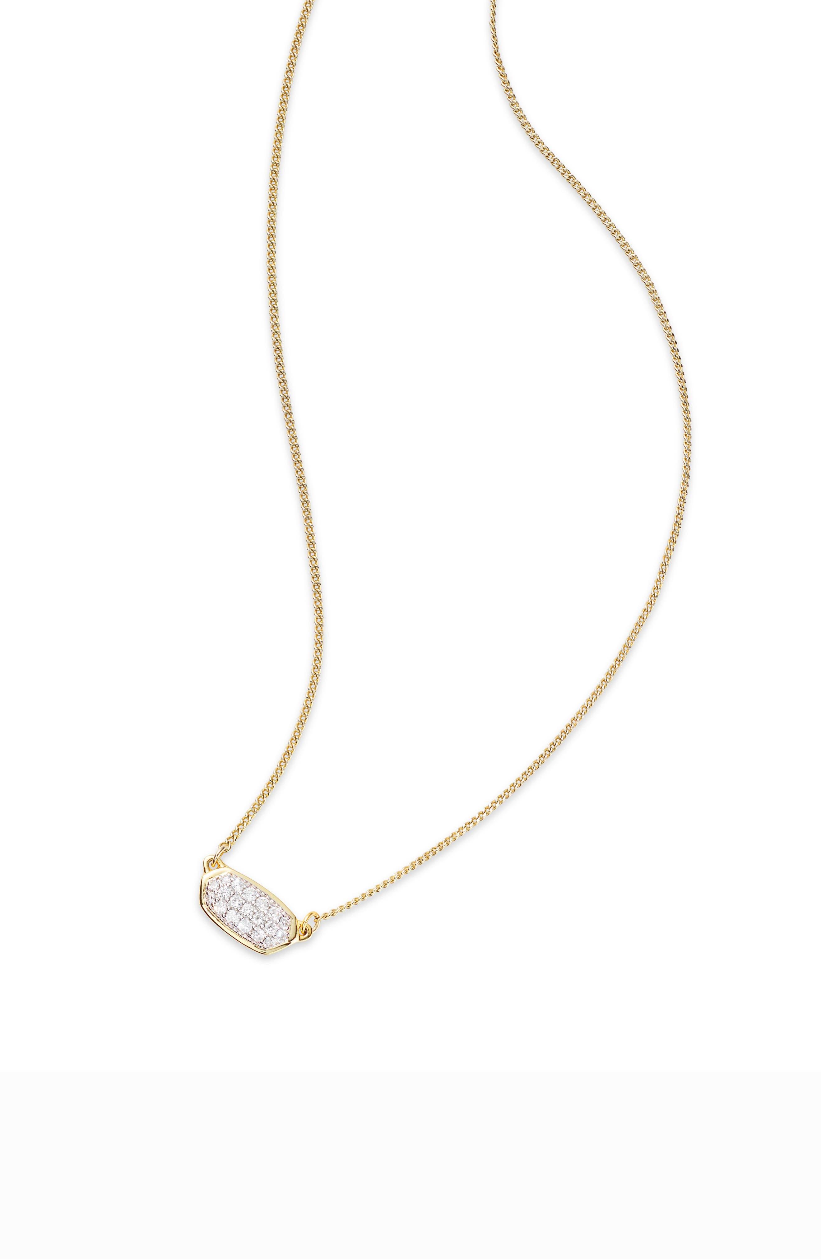KENDRA SCOTT,                             Lisa Diamond & Gold Pendant Necklace,                             Main thumbnail 1, color,                             14K GOLD WHITE DIAMOND