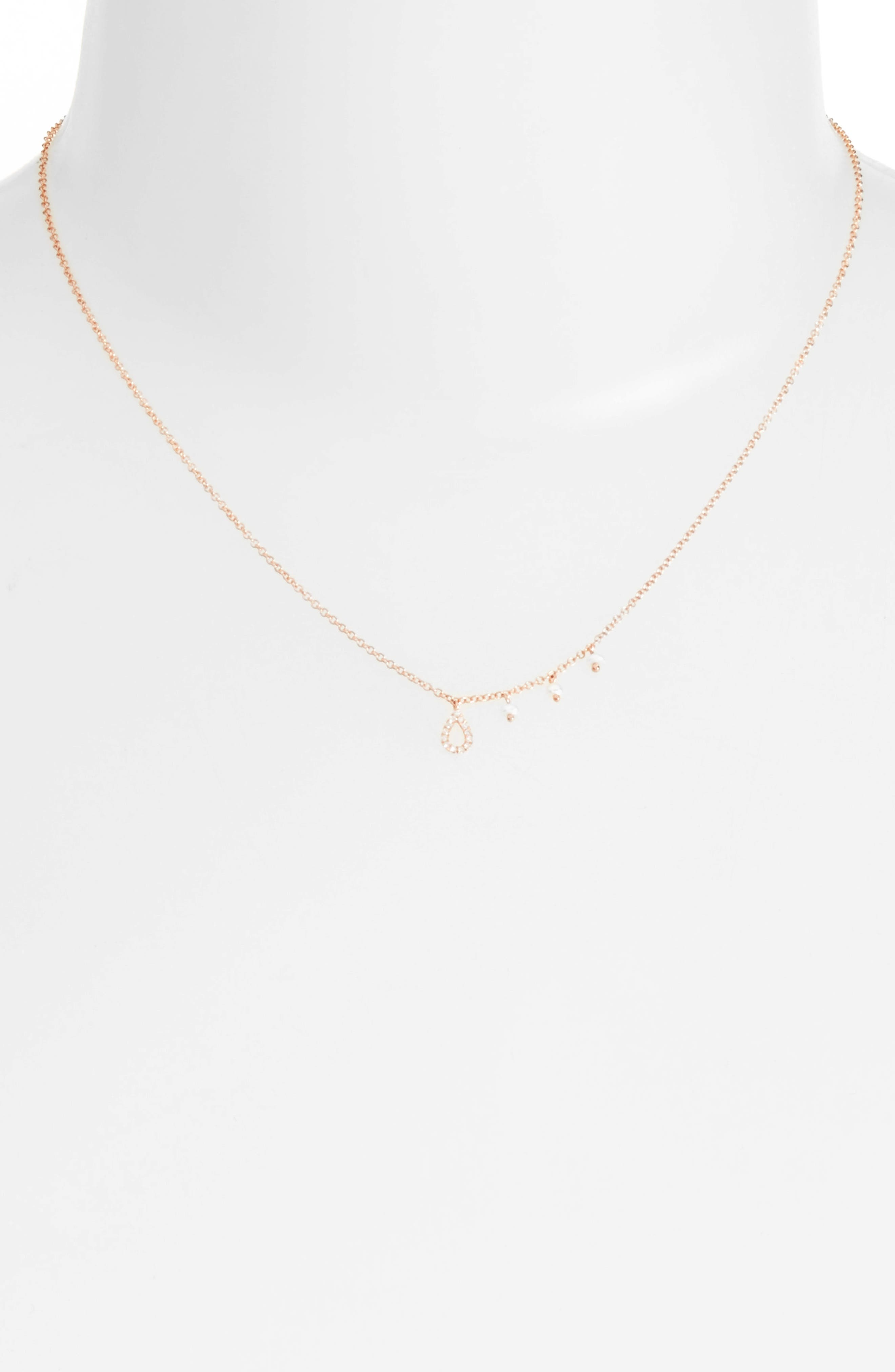 Diamond Teardrop Charm Collar Necklace,                             Alternate thumbnail 2, color,                             ROSE GOLD