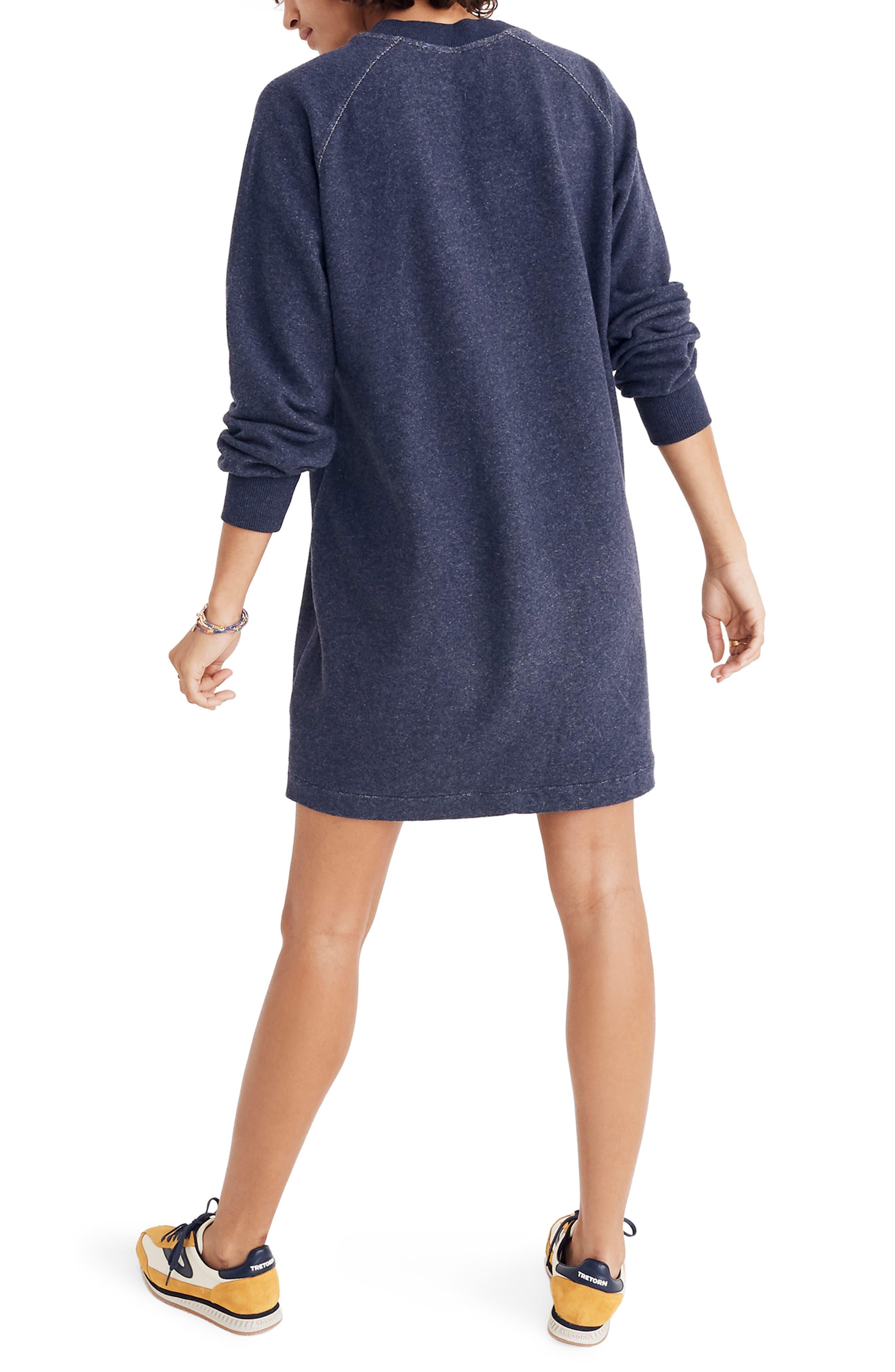 Bubble Sleeve Sweatshirt Dress,                             Alternate thumbnail 3, color,                             400