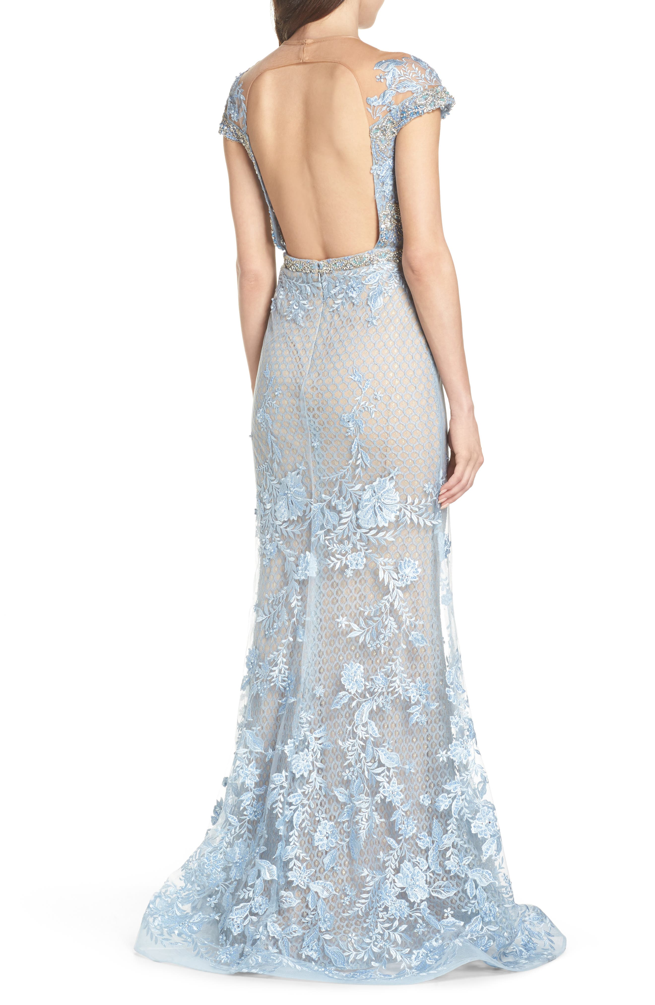 Beaded Lace Trumpet Gown,                             Alternate thumbnail 2, color,                             POWDER BLUE